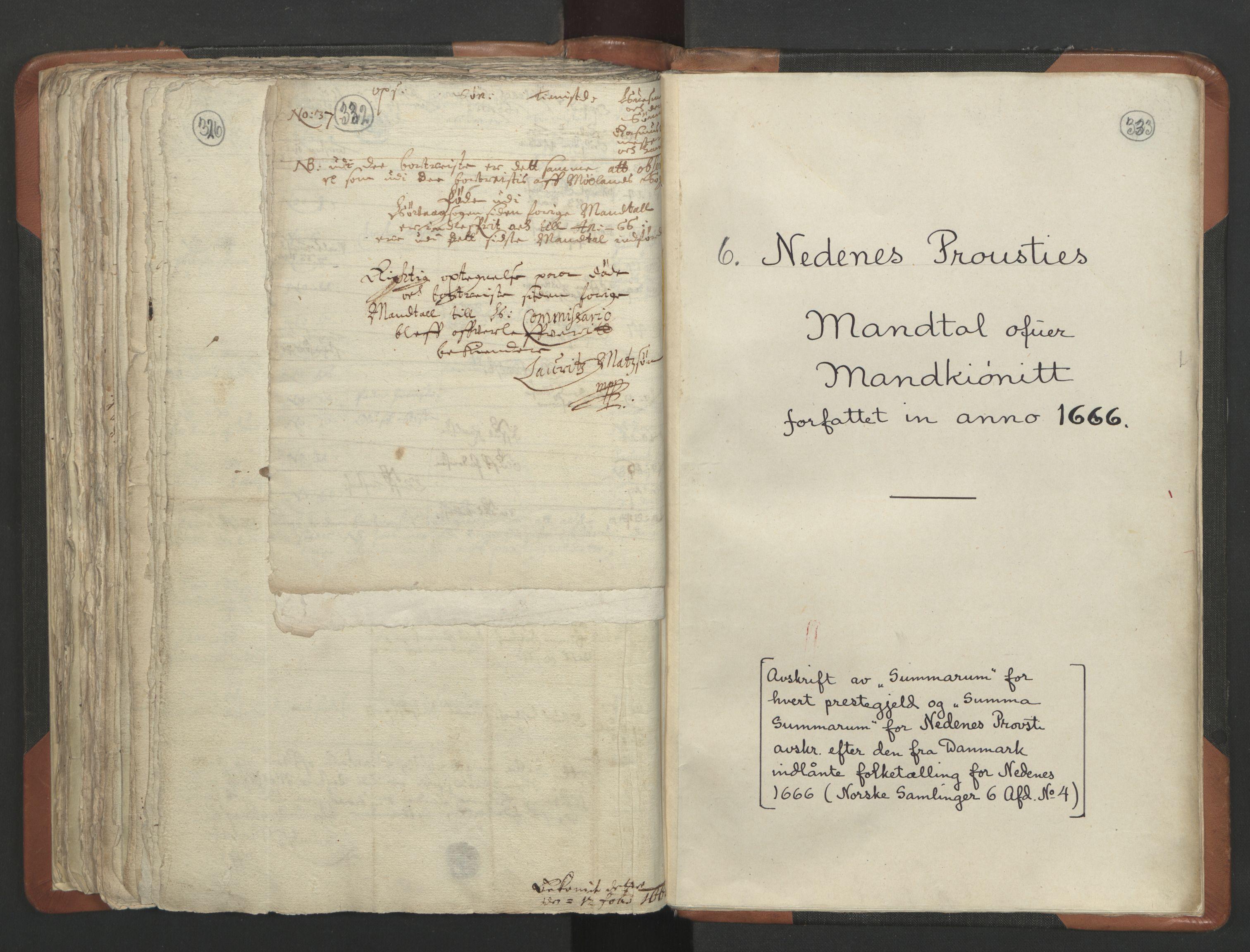 RA, Sogneprestenes manntall 1664-1666, nr. 13: Nedenes prosti, 1664-1666, s. 332-333