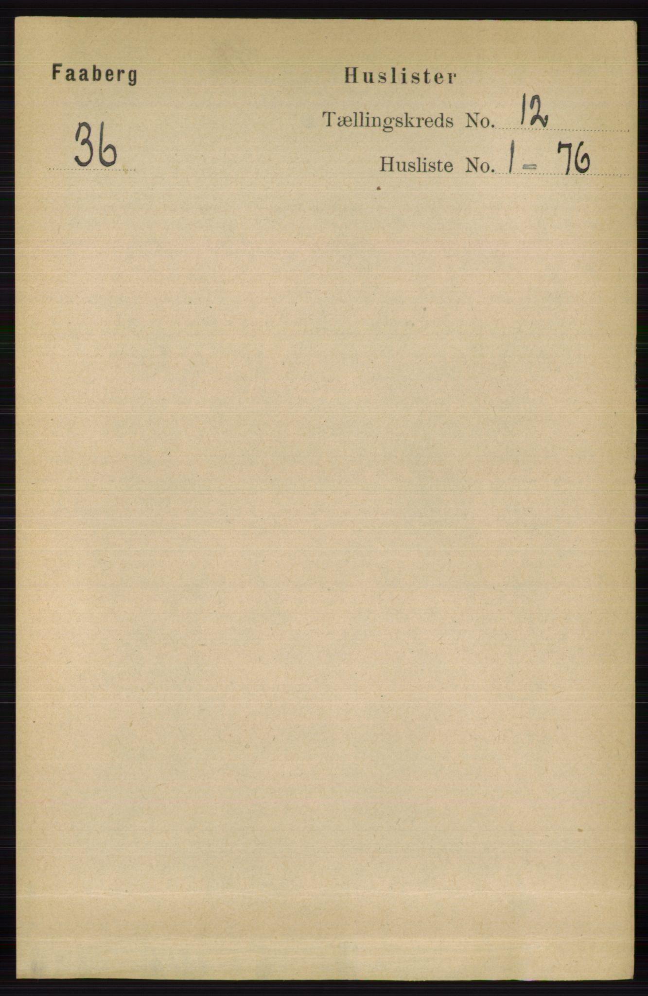 RA, Folketelling 1891 for 0524 Fåberg herred, 1891, s. 4692