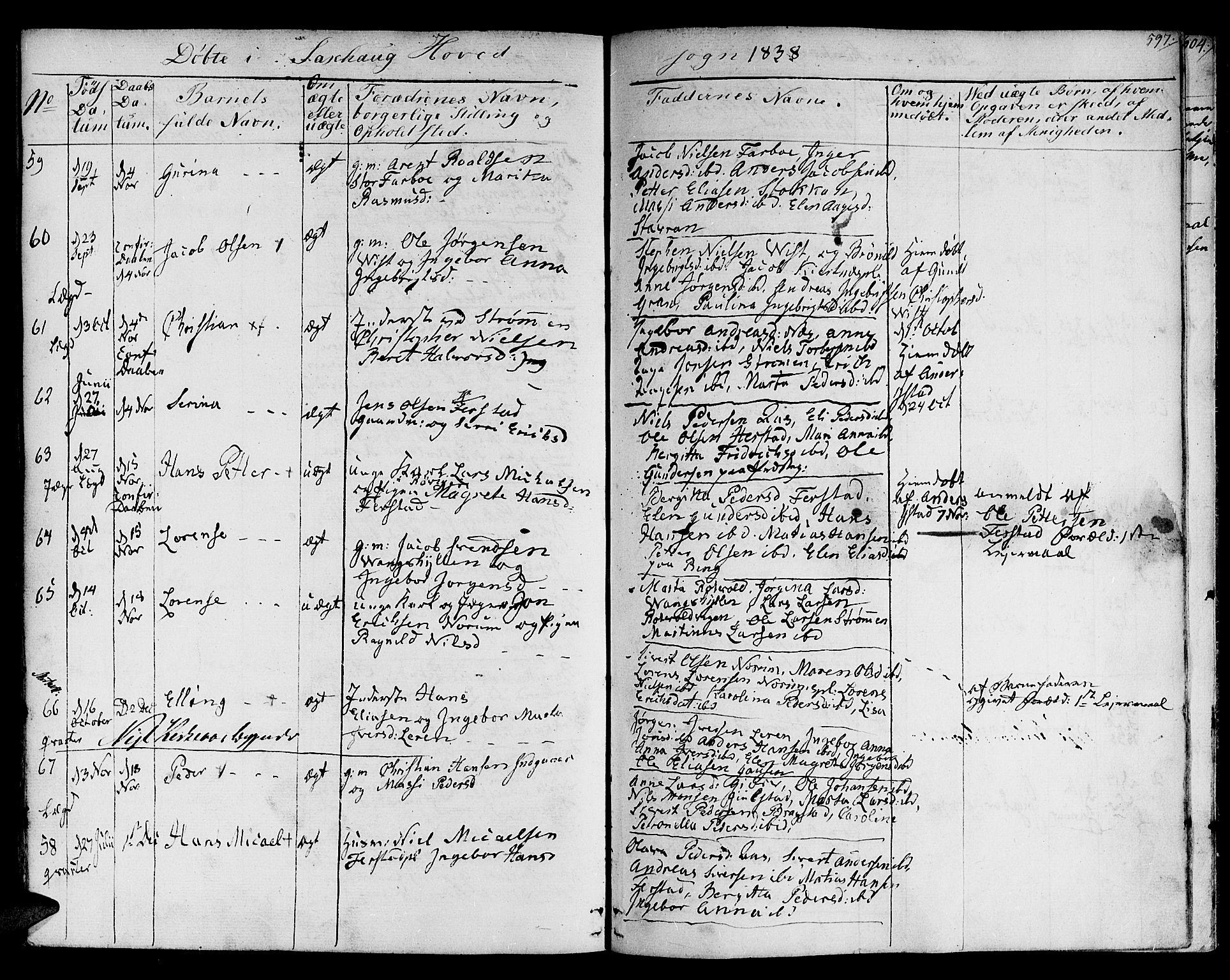 SAT, Ministerialprotokoller, klokkerbøker og fødselsregistre - Nord-Trøndelag, 730/L0277: Ministerialbok nr. 730A06 /1, 1830-1839, s. 597