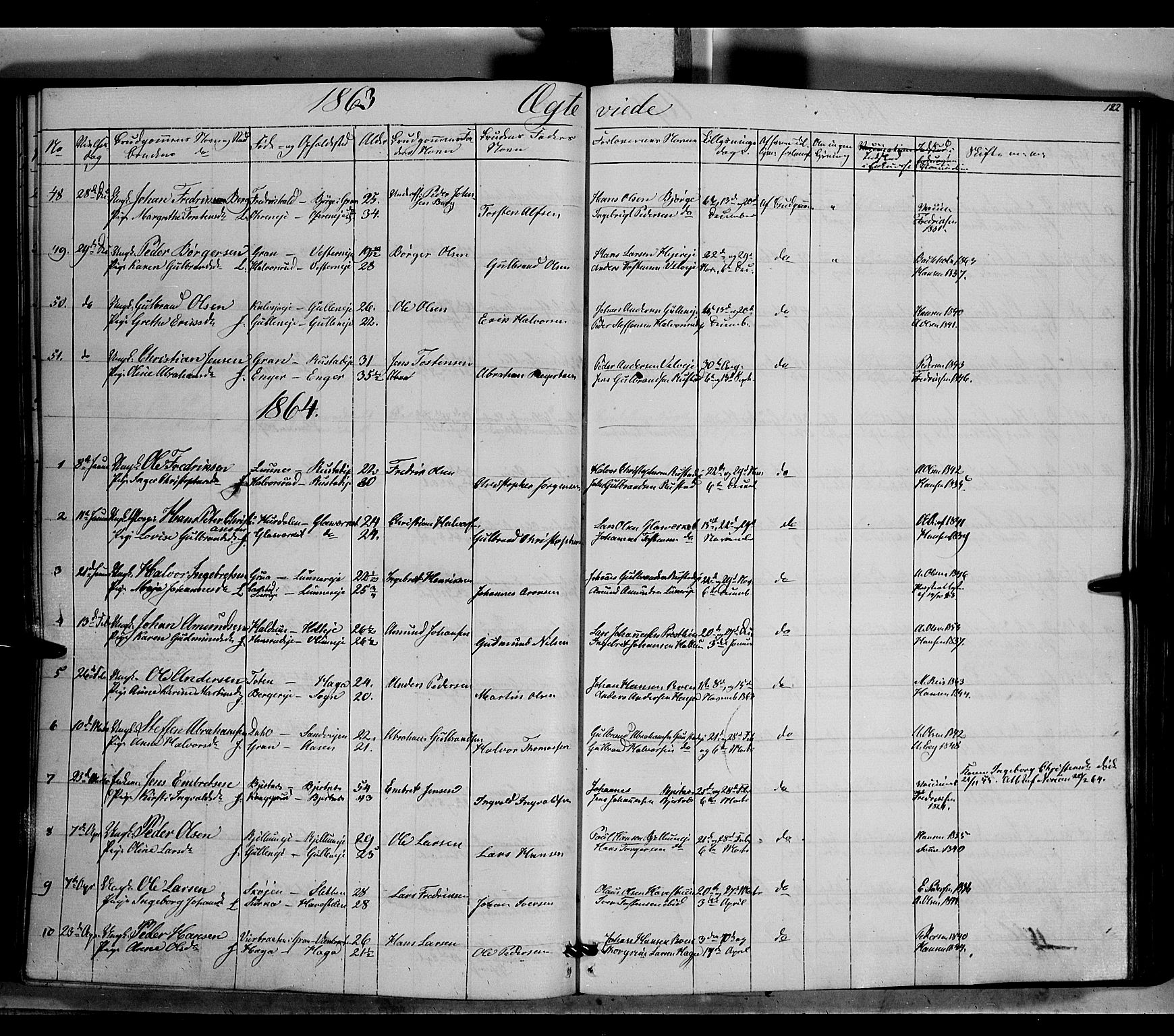 SAH, Jevnaker prestekontor, Ministerialbok nr. 7, 1858-1876, s. 182