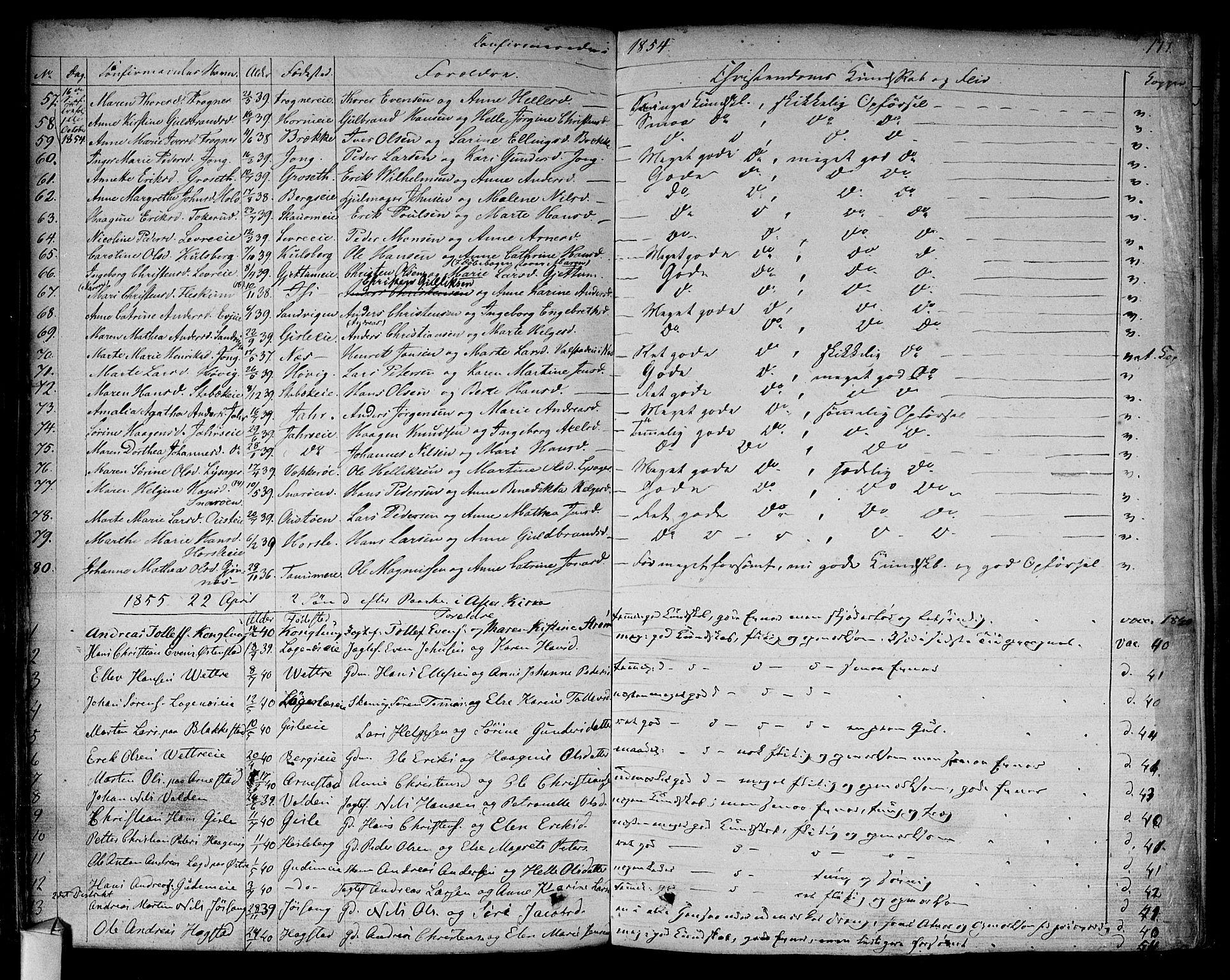SAO, Asker prestekontor Kirkebøker, F/Fa/L0009: Ministerialbok nr. I 9, 1825-1878, s. 177