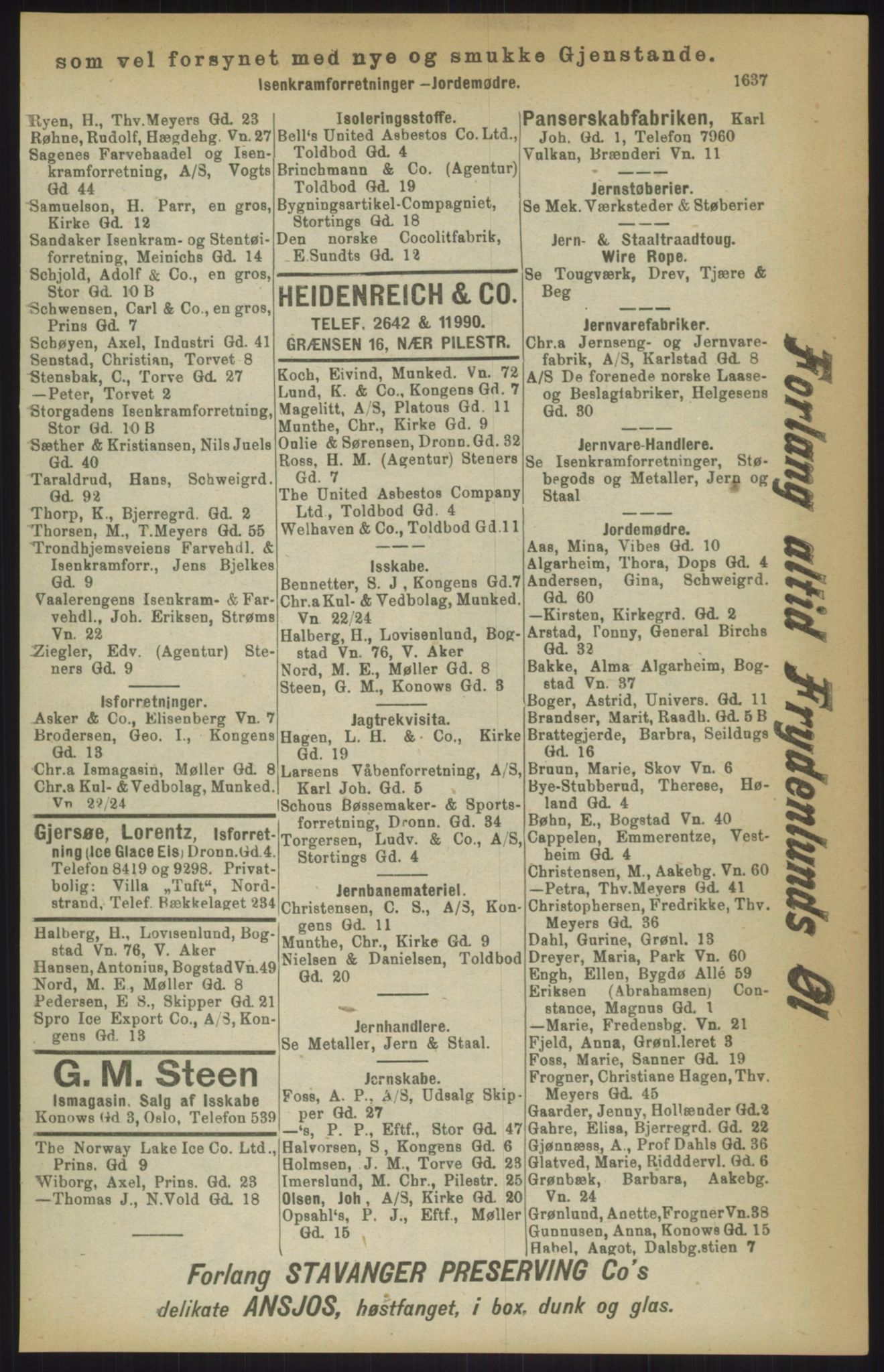 RA, Kristiania adressebok (publikasjon)*, 1911, s. 1637