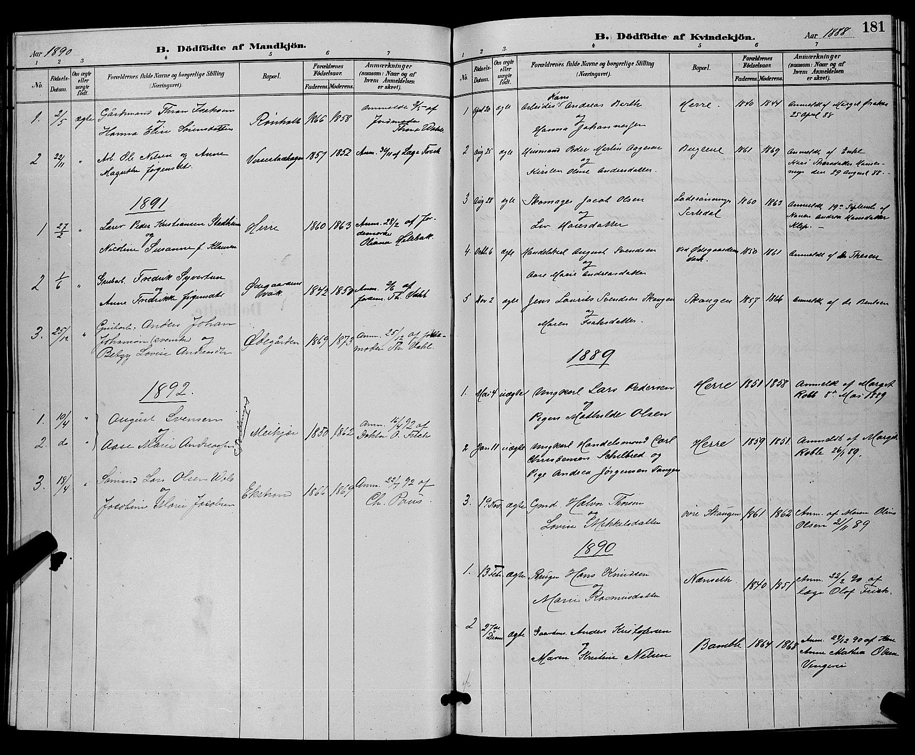 SAKO, Bamble kirkebøker, G/Ga/L0009: Klokkerbok nr. I 9, 1888-1900, s. 181