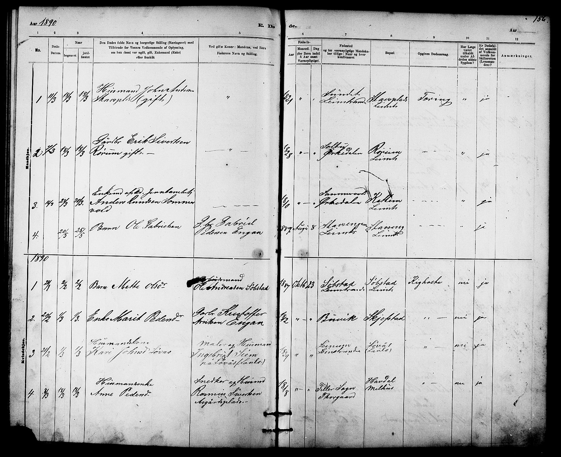 SAT, Ministerialprotokoller, klokkerbøker og fødselsregistre - Sør-Trøndelag, 613/L0395: Klokkerbok nr. 613C03, 1887-1909, s. 156