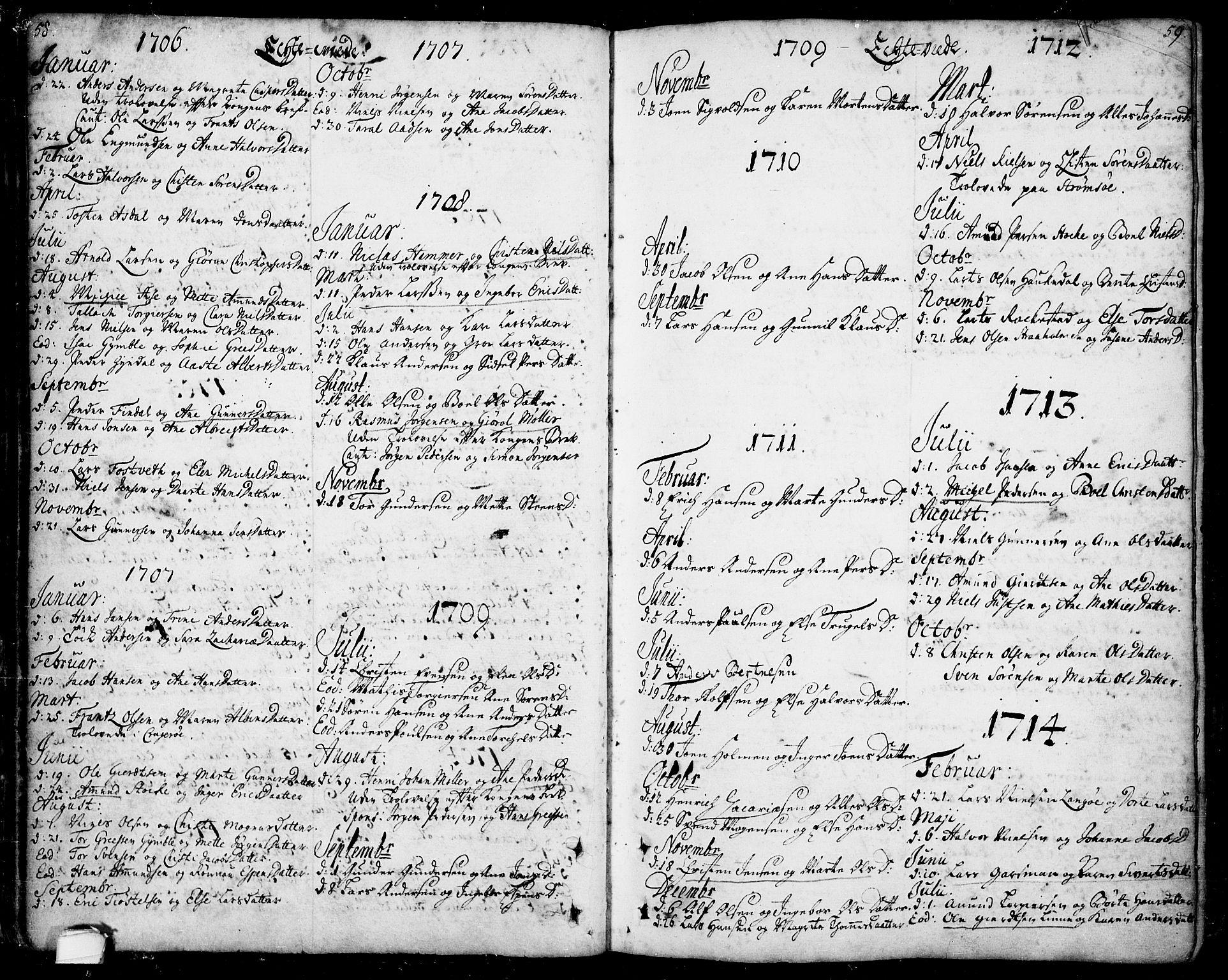 SAKO, Bamble kirkebøker, F/Fa/L0001: Ministerialbok nr. I 1, 1702-1774, s. 58-59