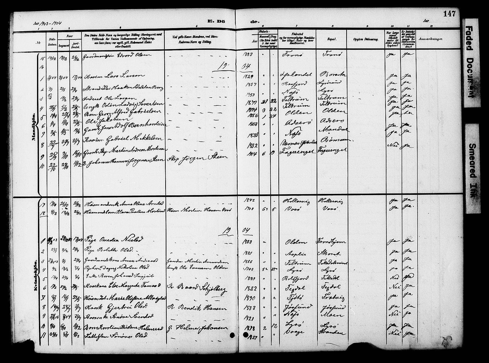 SAT, Ministerialprotokoller, klokkerbøker og fødselsregistre - Sør-Trøndelag, 654/L0666: Klokkerbok nr. 654C02, 1901-1925, s. 147