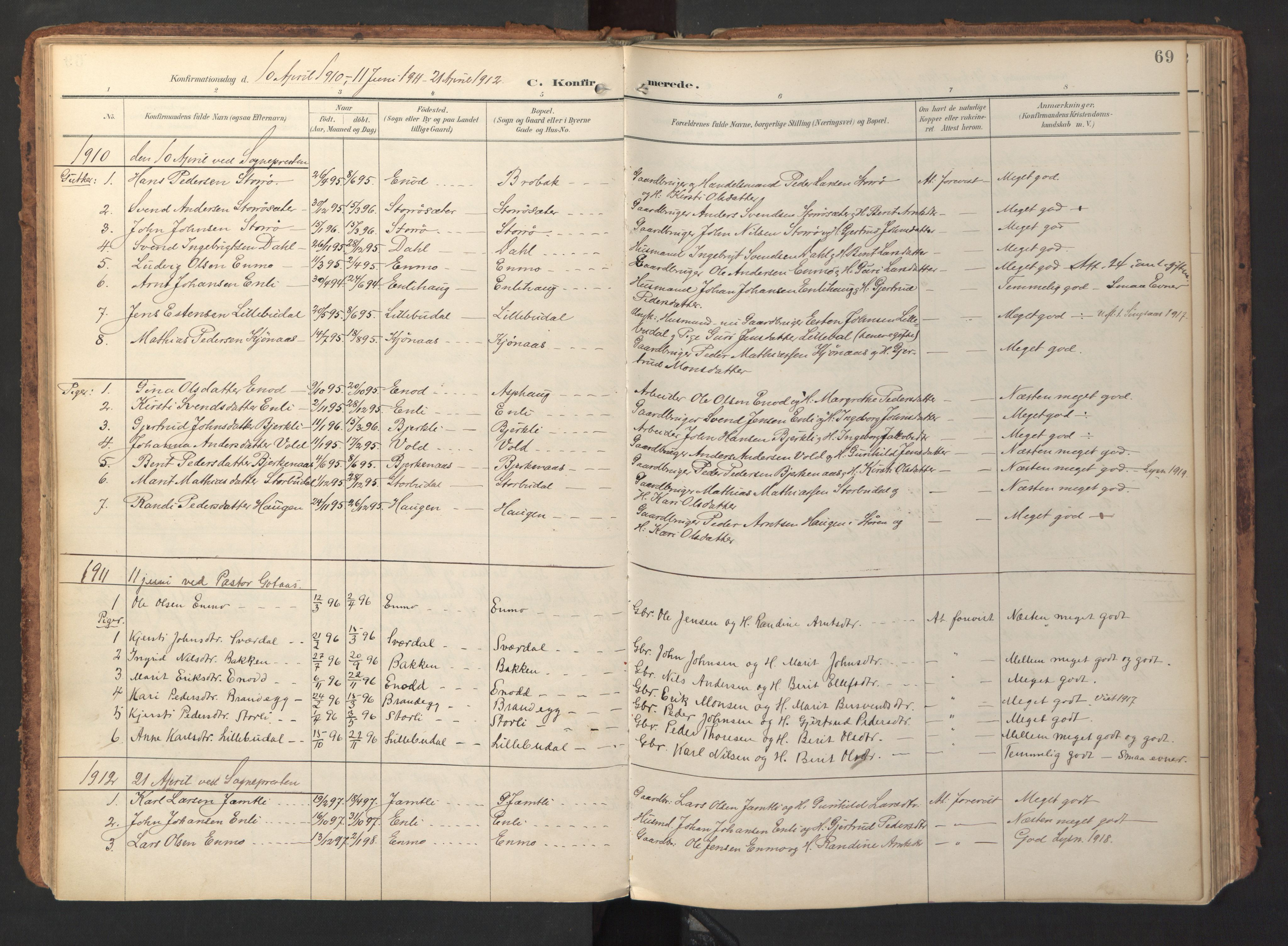 SAT, Ministerialprotokoller, klokkerbøker og fødselsregistre - Sør-Trøndelag, 690/L1050: Ministerialbok nr. 690A01, 1889-1929, s. 69