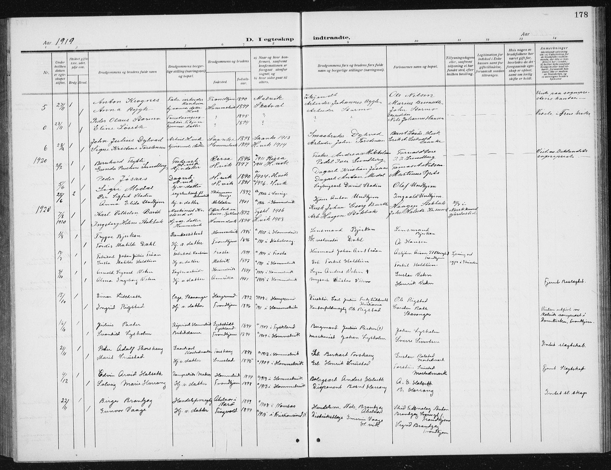 SAT, Ministerialprotokoller, klokkerbøker og fødselsregistre - Sør-Trøndelag, 617/L0431: Klokkerbok nr. 617C02, 1910-1936, s. 178