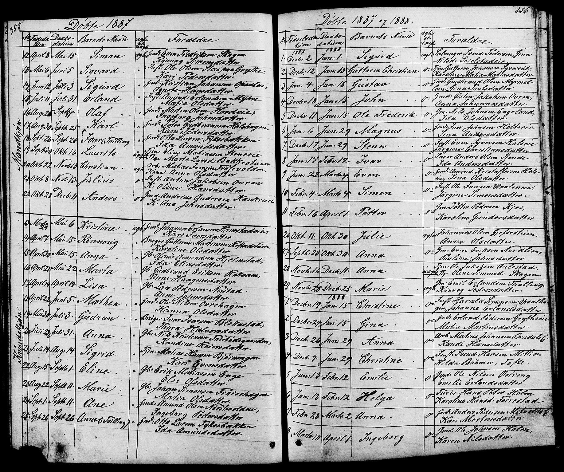 SAH, Østre Gausdal prestekontor, Klokkerbok nr. 1, 1863-1893, s. 355-356