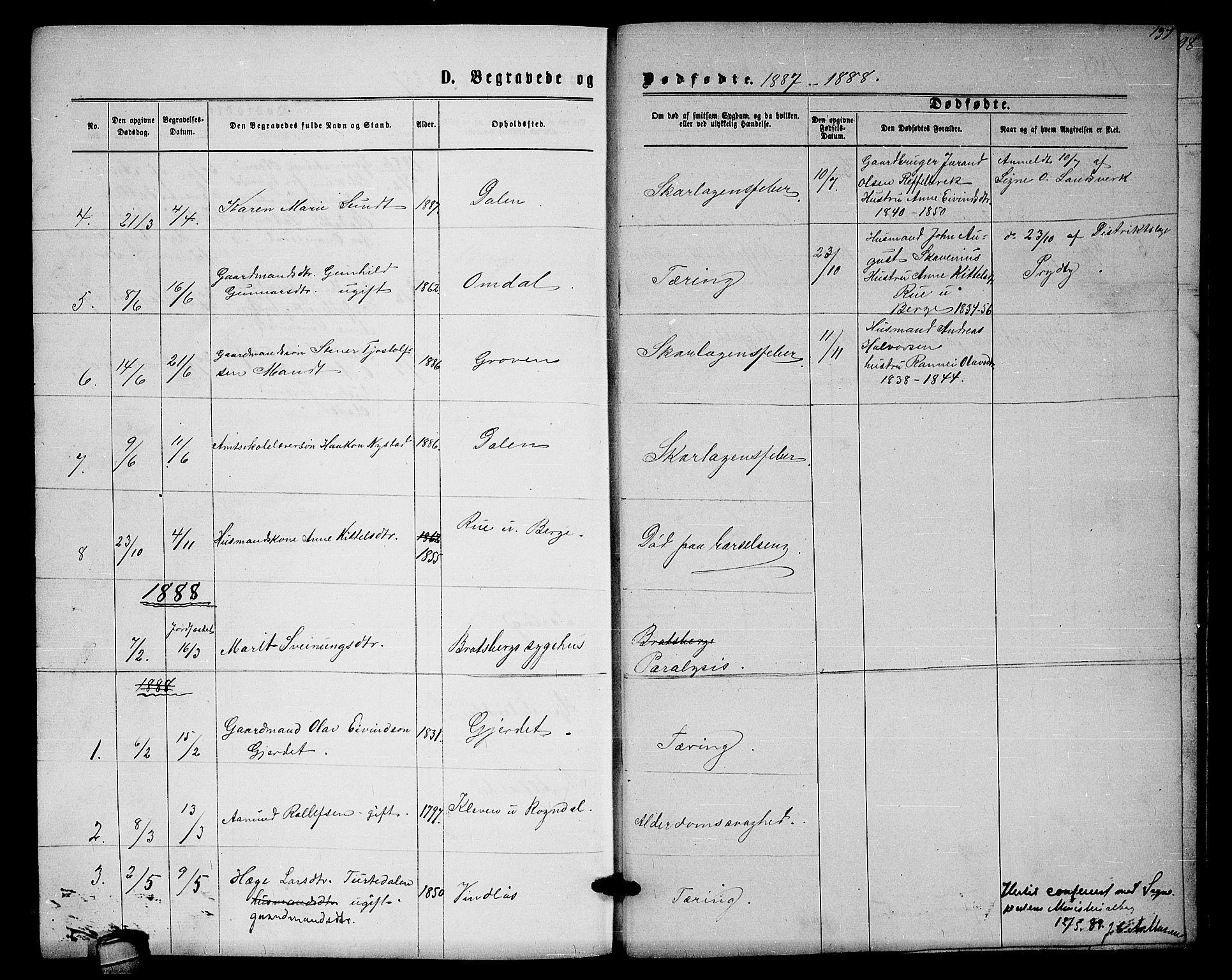 SAKO, Lårdal kirkebøker, G/Gb/L0002: Klokkerbok nr. II 2, 1865-1888, s. 197