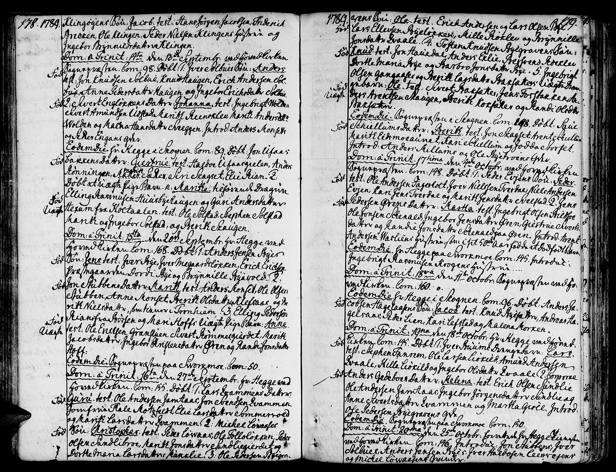 SAT, Ministerialprotokoller, klokkerbøker og fødselsregistre - Sør-Trøndelag, 668/L0802: Ministerialbok nr. 668A02, 1776-1799, s. 178-179