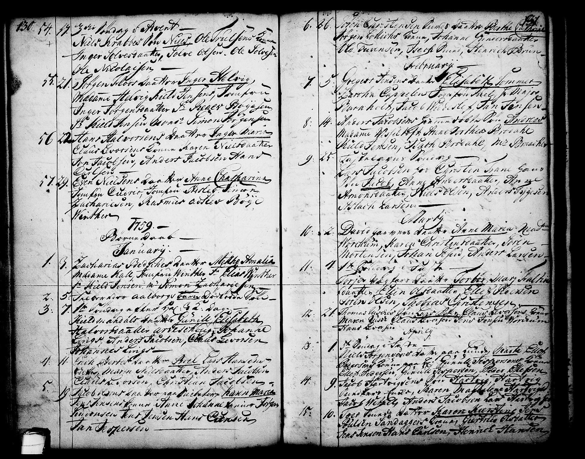 SAKO, Skien kirkebøker, F/Fa/L0003: Ministerialbok nr. 3, 1755-1791, s. 130-131