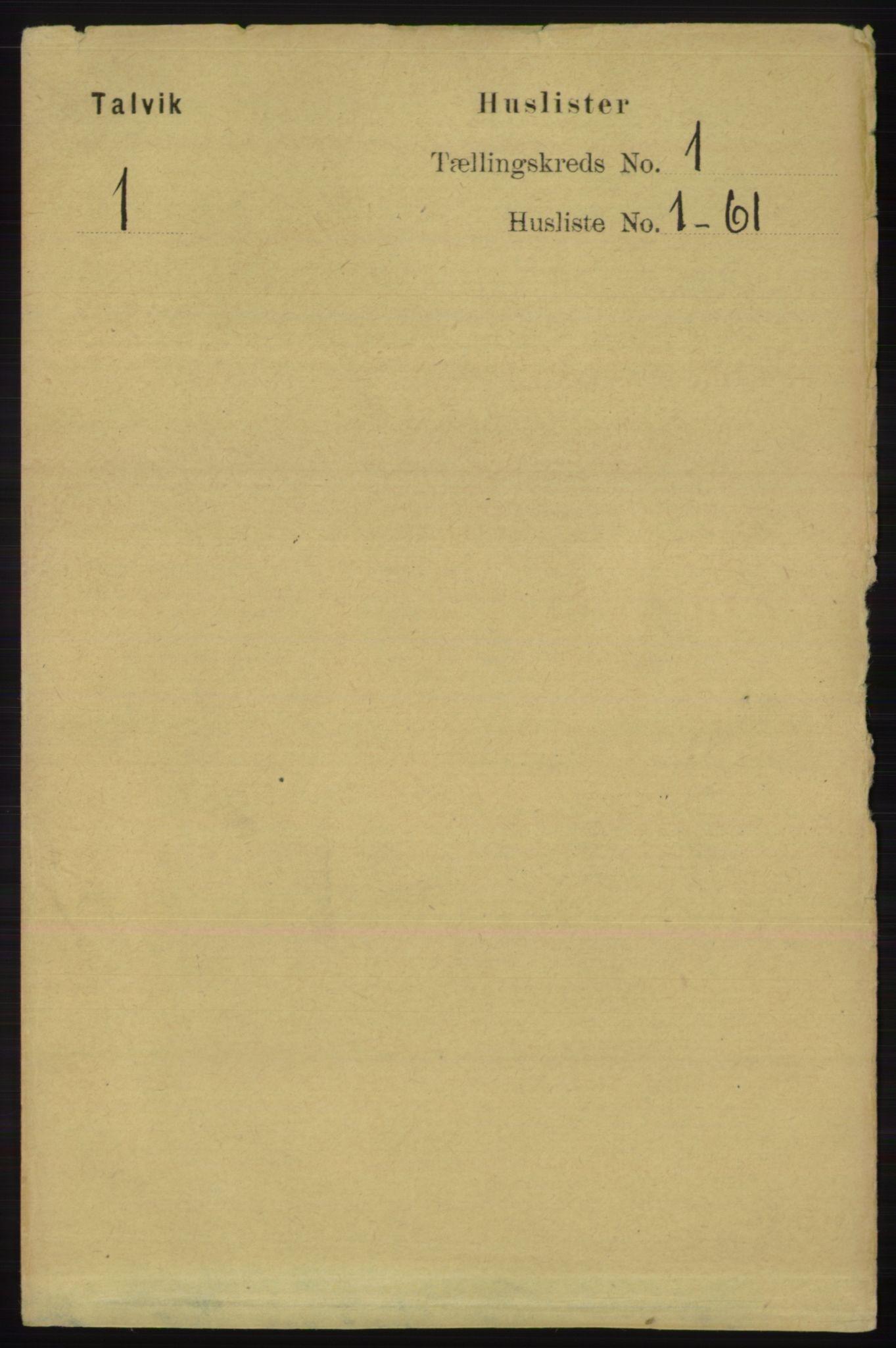 RA, Folketelling 1891 for 2013 Talvik herred, 1891, s. 31