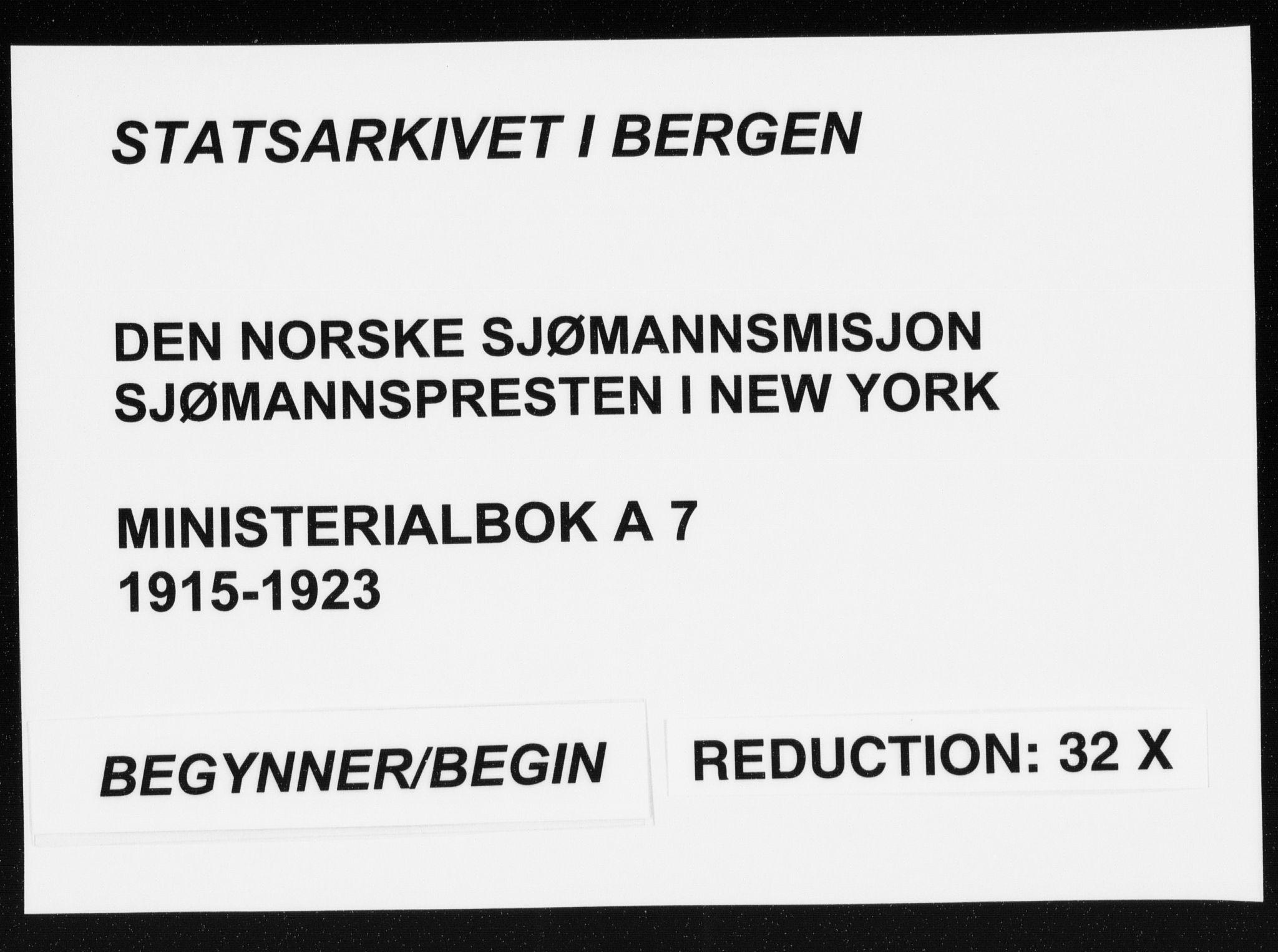 SAB, Den Norske Sjømannsmisjon i utlandet*, Ministerialbok nr. A 7, 1915-1923