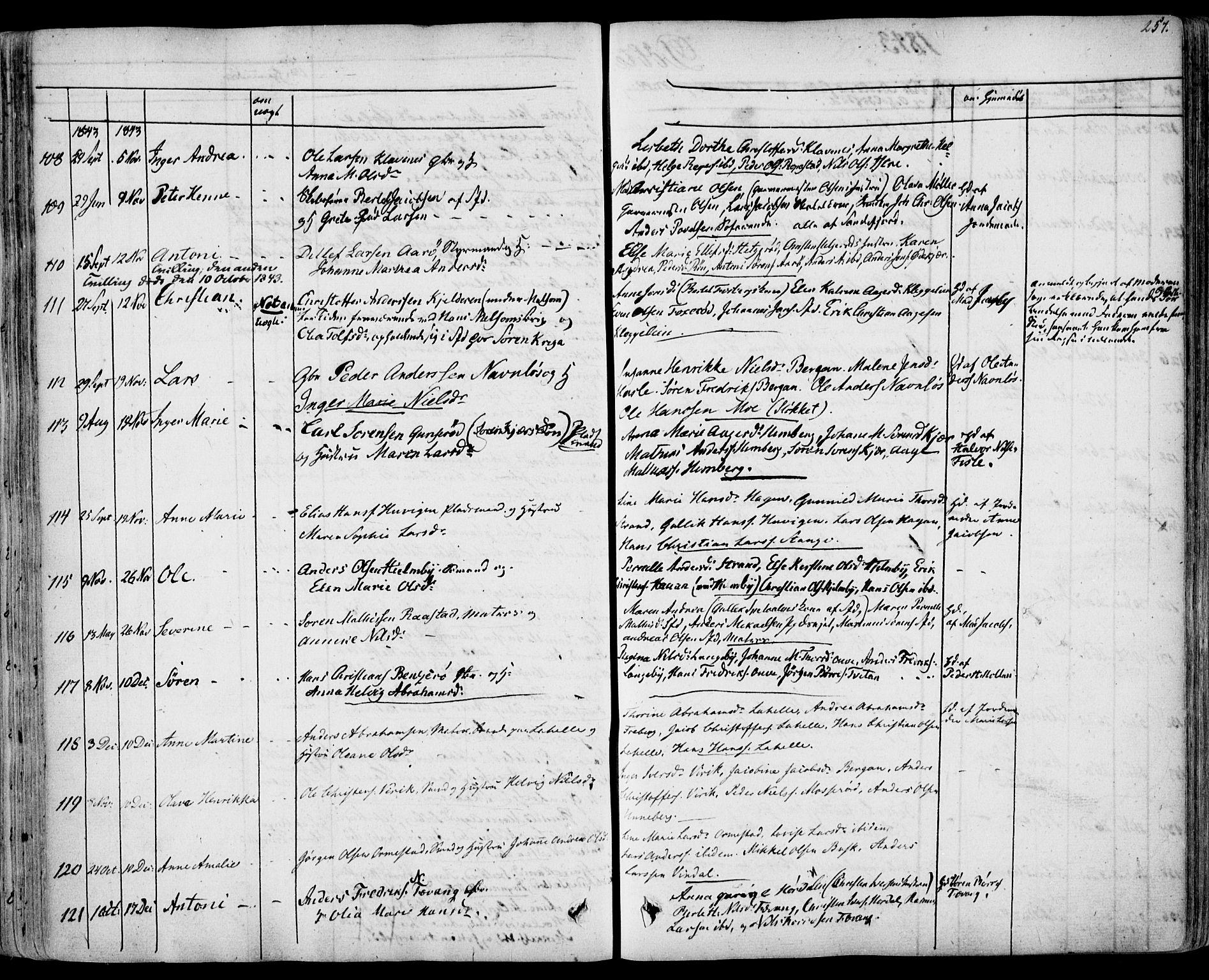 SAKO, Sandar kirkebøker, F/Fa/L0005: Ministerialbok nr. 5, 1832-1847, s. 256-257
