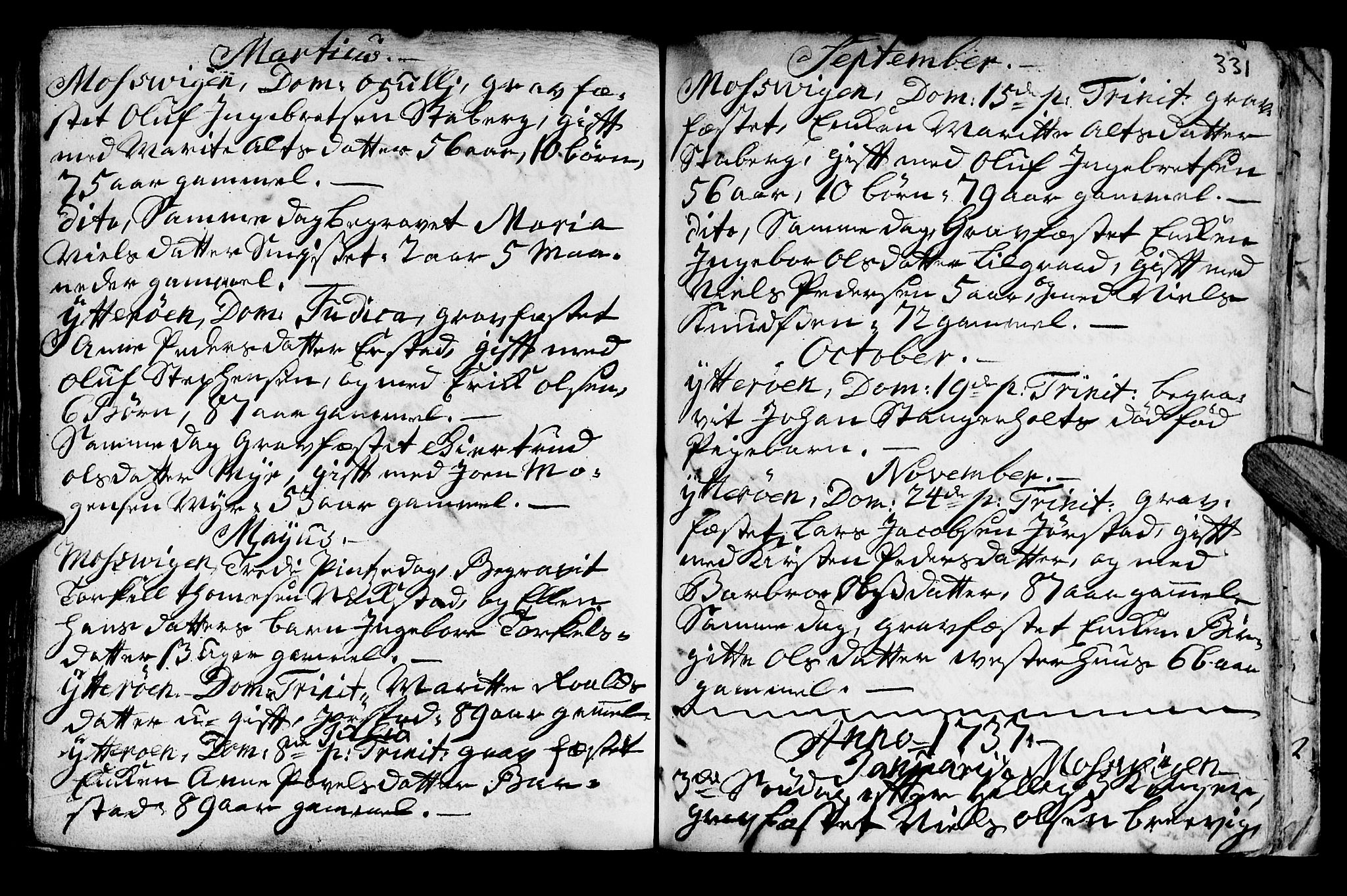 SAT, Ministerialprotokoller, klokkerbøker og fødselsregistre - Nord-Trøndelag, 722/L0215: Ministerialbok nr. 722A02, 1718-1755, s. 331