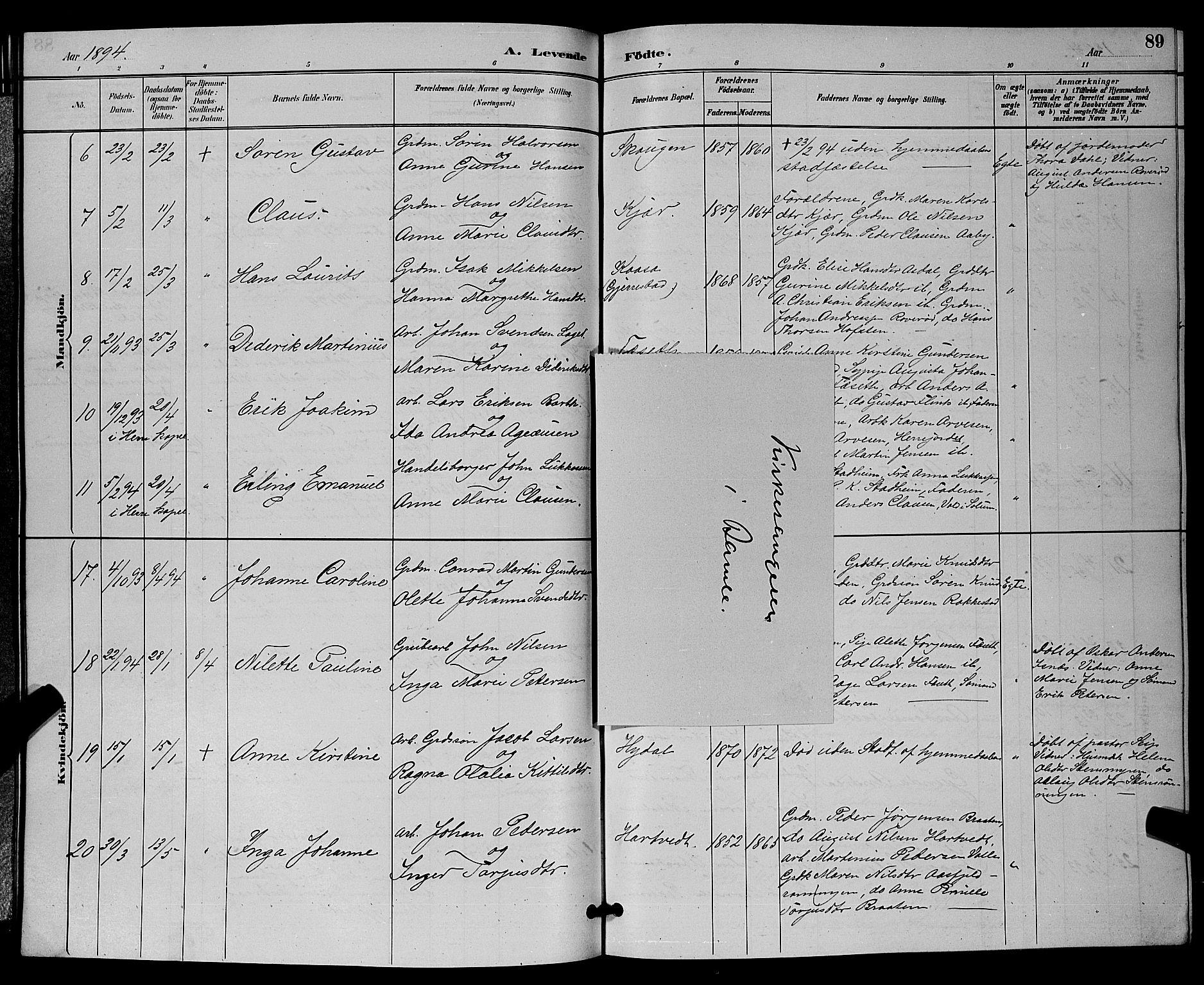 SAKO, Bamble kirkebøker, G/Ga/L0009: Klokkerbok nr. I 9, 1888-1900, s. 89
