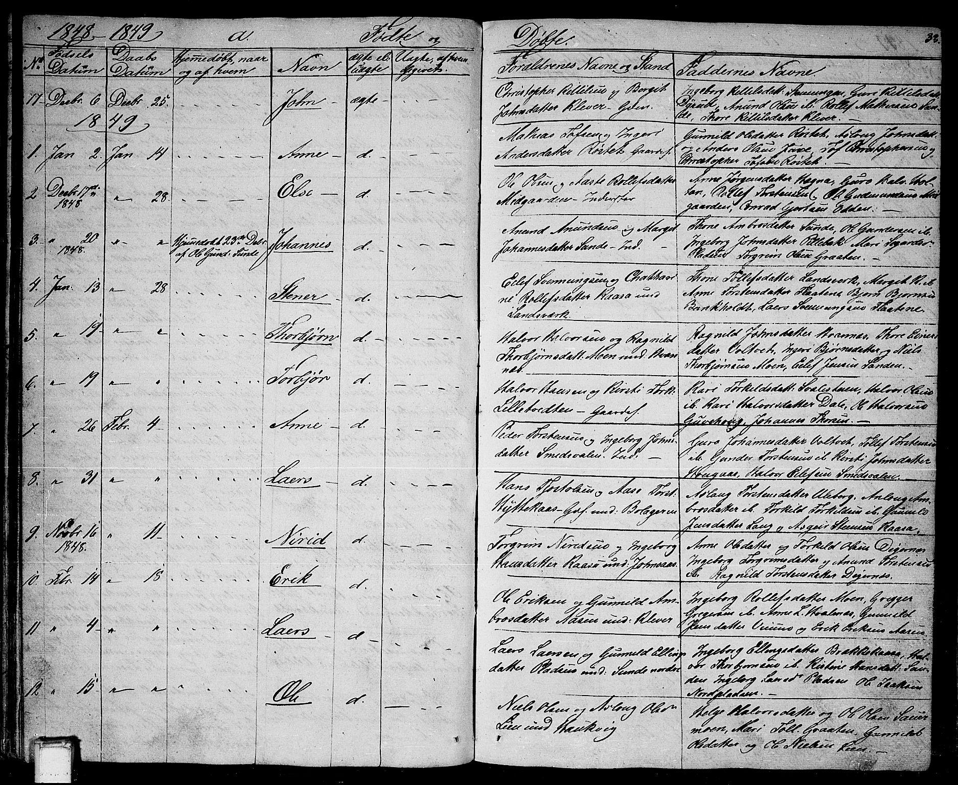 SAKO, Sauherad kirkebøker, G/Ga/L0002: Klokkerbok nr. I 2, 1842-1866, s. 33
