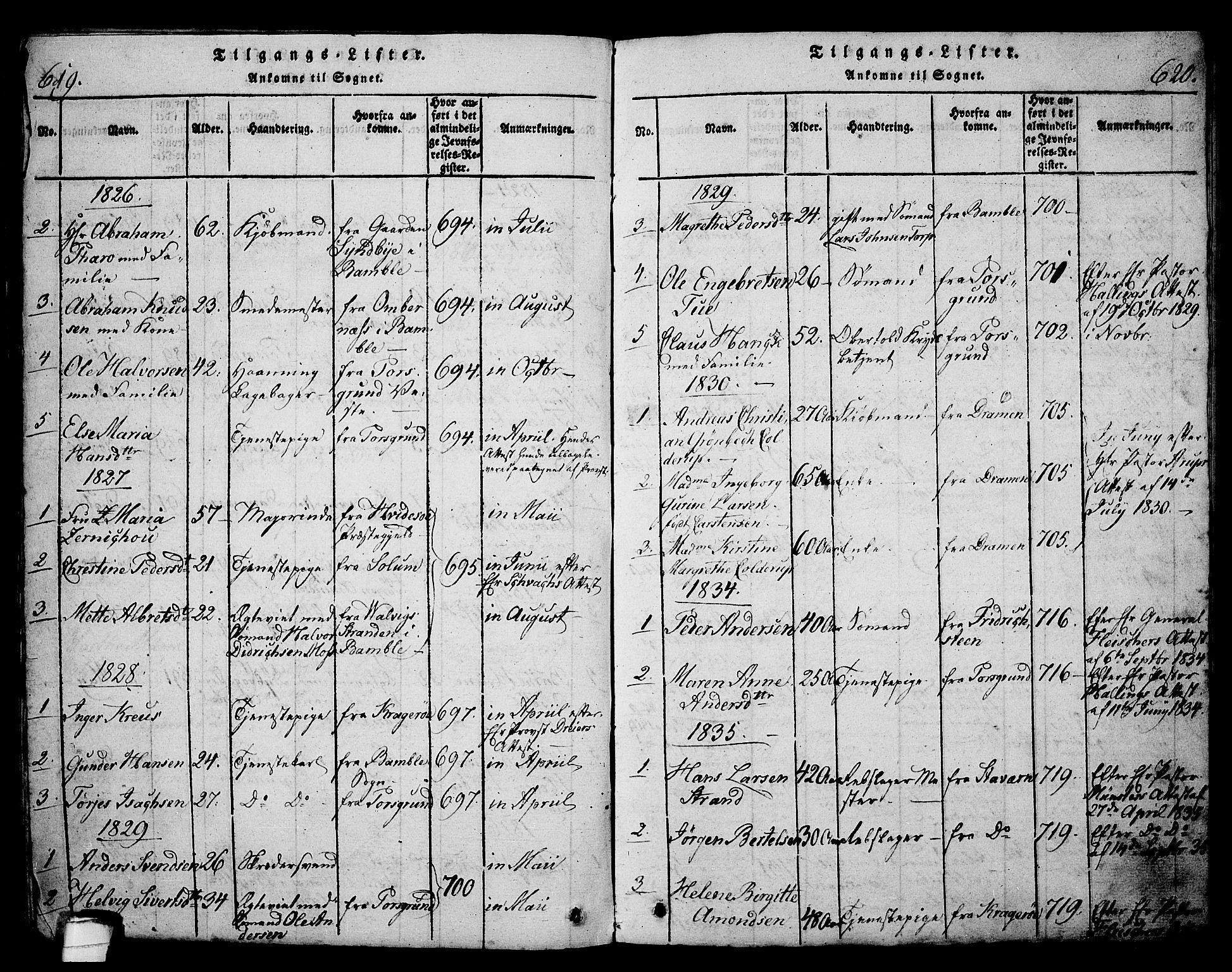 SAKO, Langesund kirkebøker, G/Ga/L0003: Klokkerbok nr. 3, 1815-1858, s. 619-620