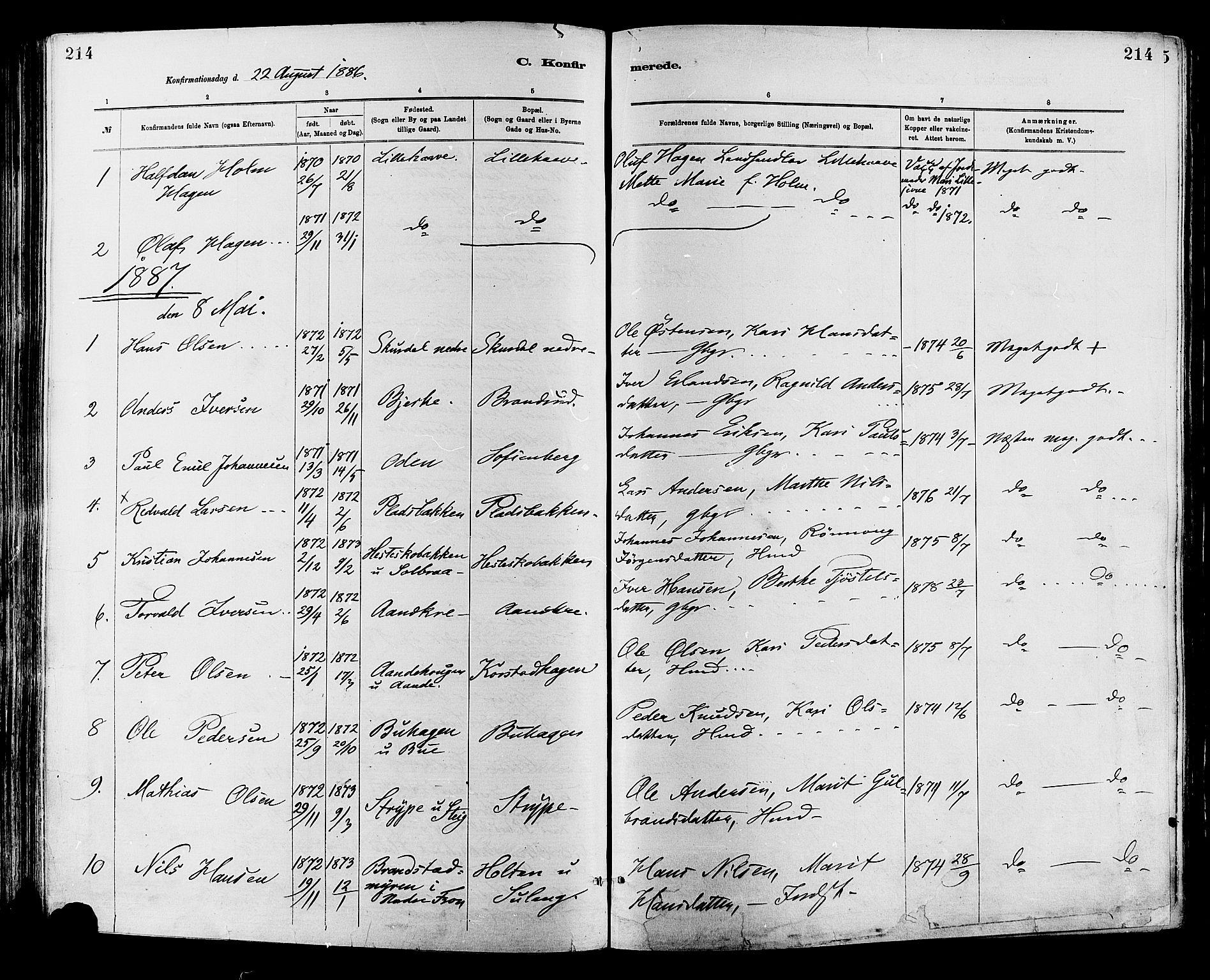 SAH, Sør-Fron prestekontor, H/Ha/Haa/L0003: Ministerialbok nr. 3, 1881-1897, s. 214
