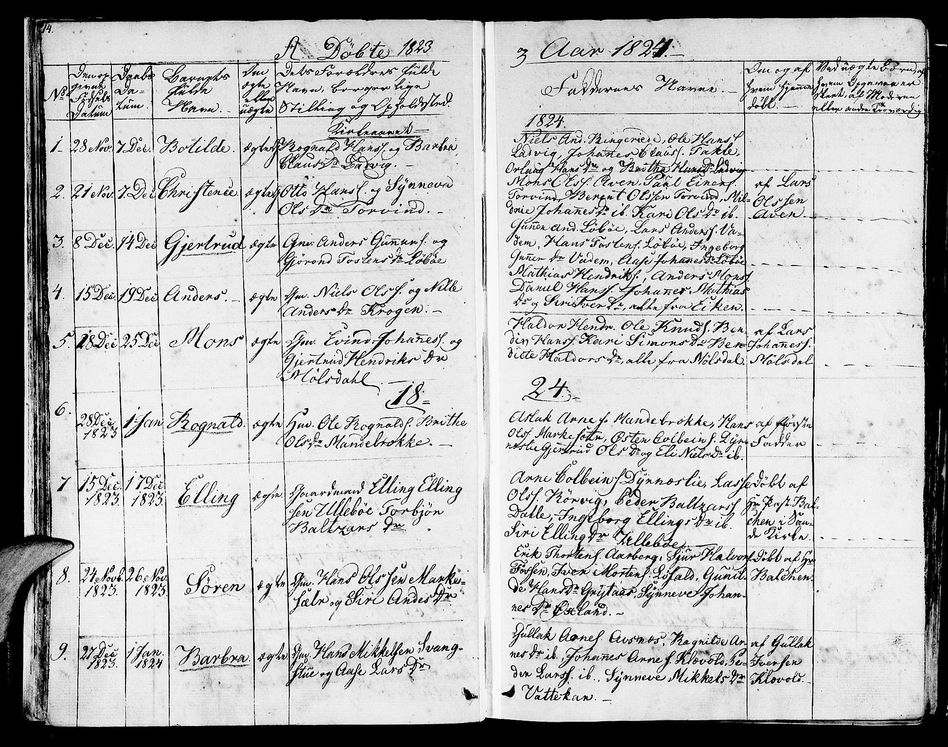 SAB, Lavik sokneprestembete, Ministerialbok nr. A 2I, 1821-1842, s. 14