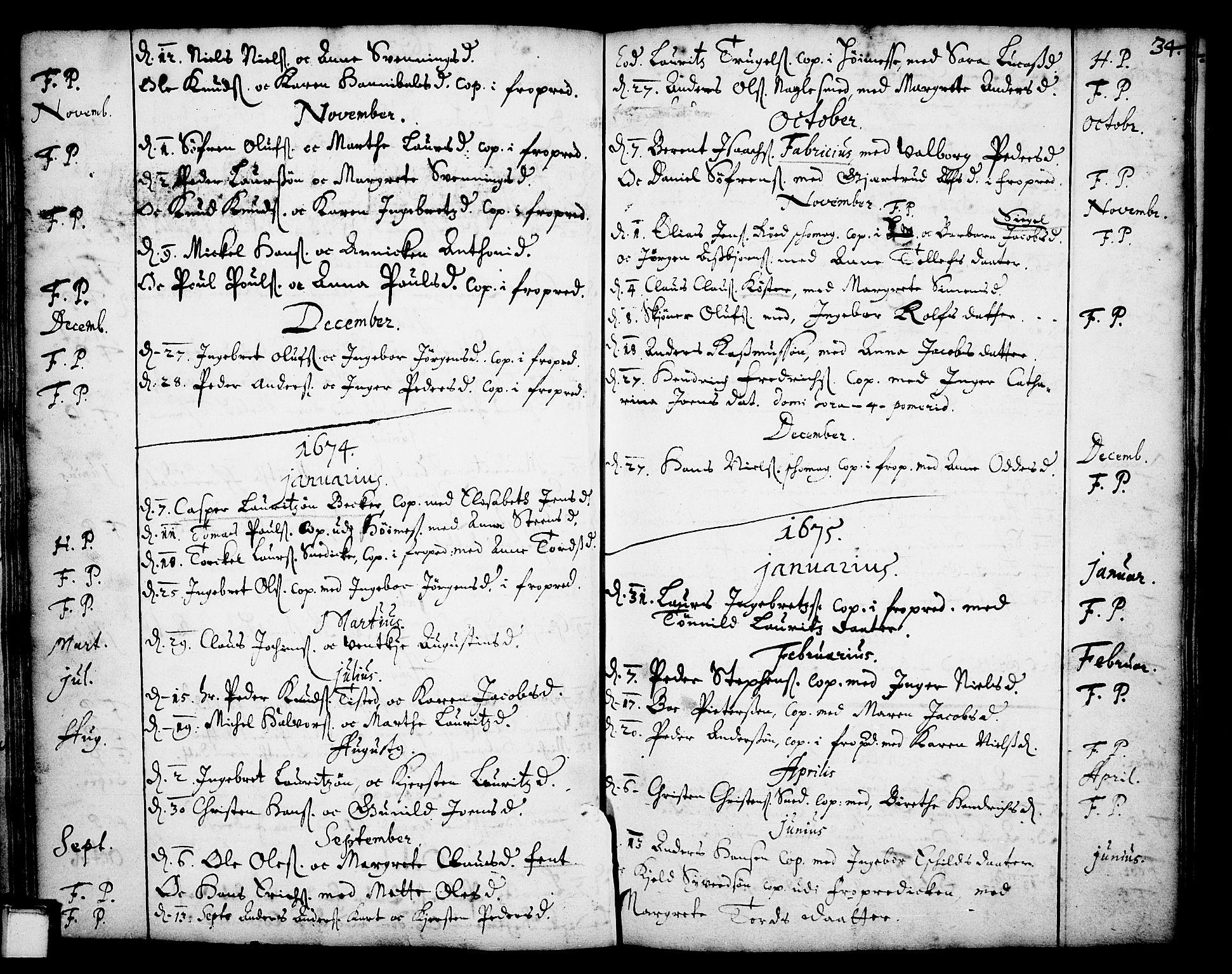 SAKO, Skien kirkebøker, F/Fa/L0001: Ministerialbok nr. 1, 1659-1679, s. 34