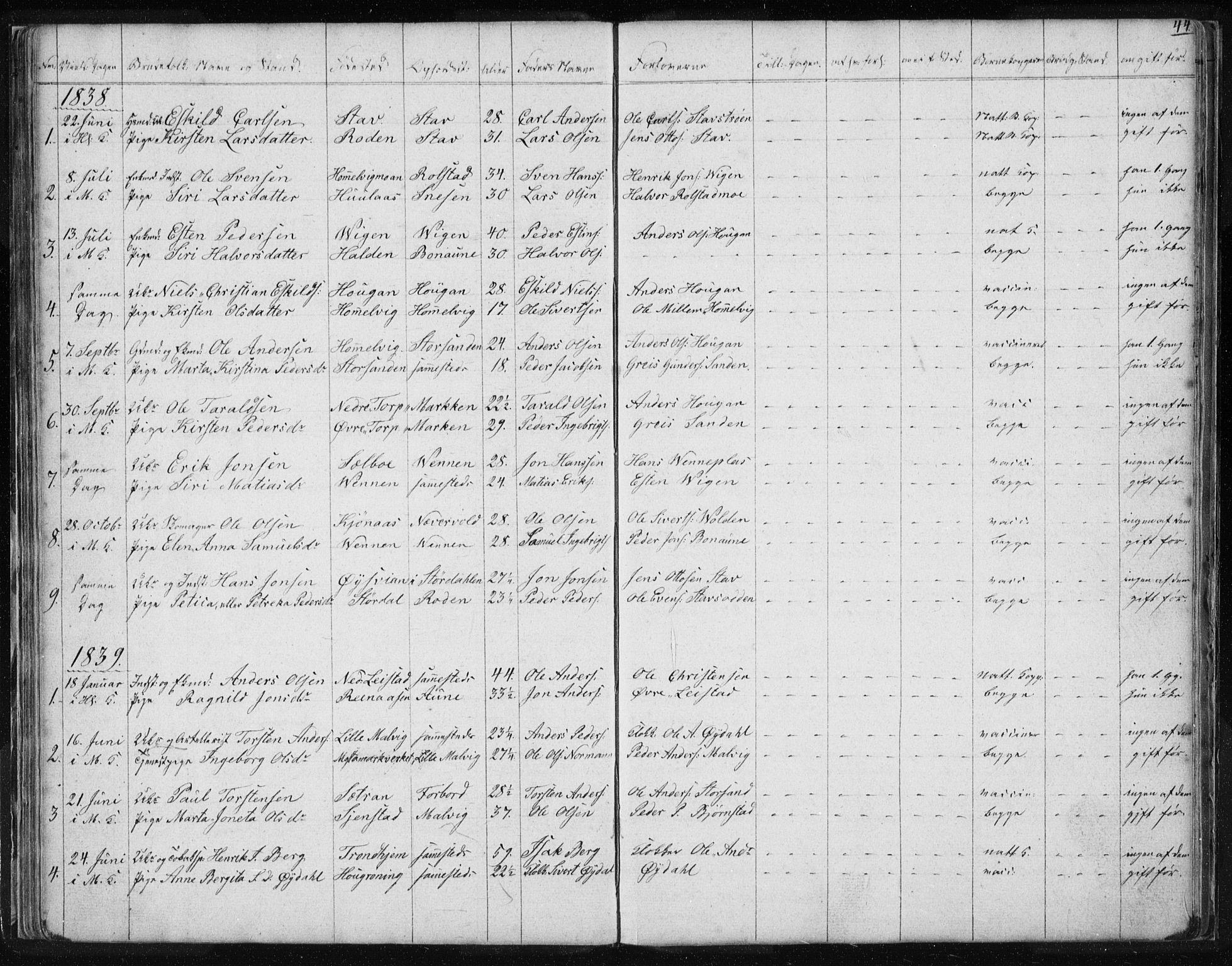 SAT, Ministerialprotokoller, klokkerbøker og fødselsregistre - Sør-Trøndelag, 616/L0405: Ministerialbok nr. 616A02, 1831-1842, s. 44