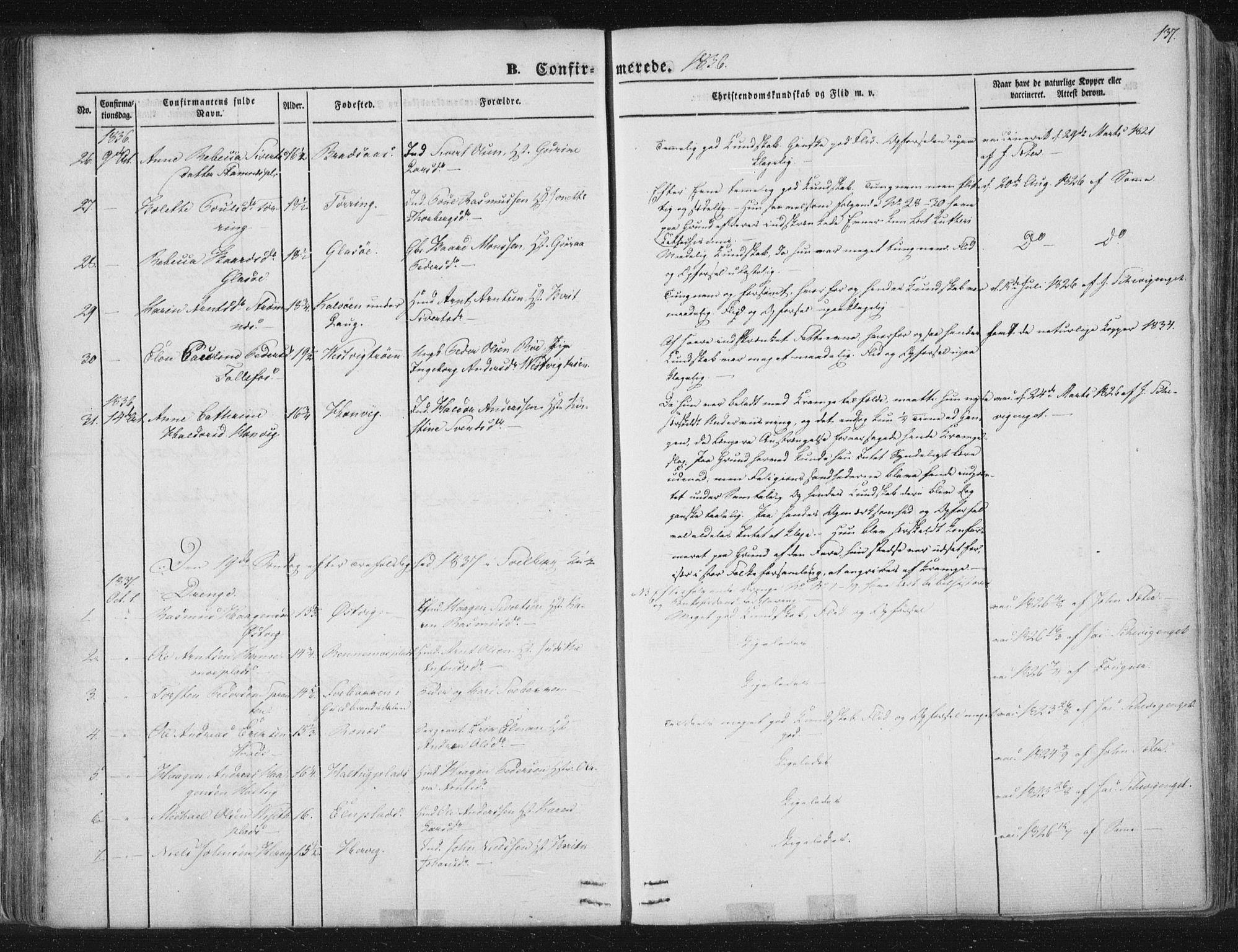 SAT, Ministerialprotokoller, klokkerbøker og fødselsregistre - Nord-Trøndelag, 741/L0392: Ministerialbok nr. 741A06, 1836-1848, s. 137