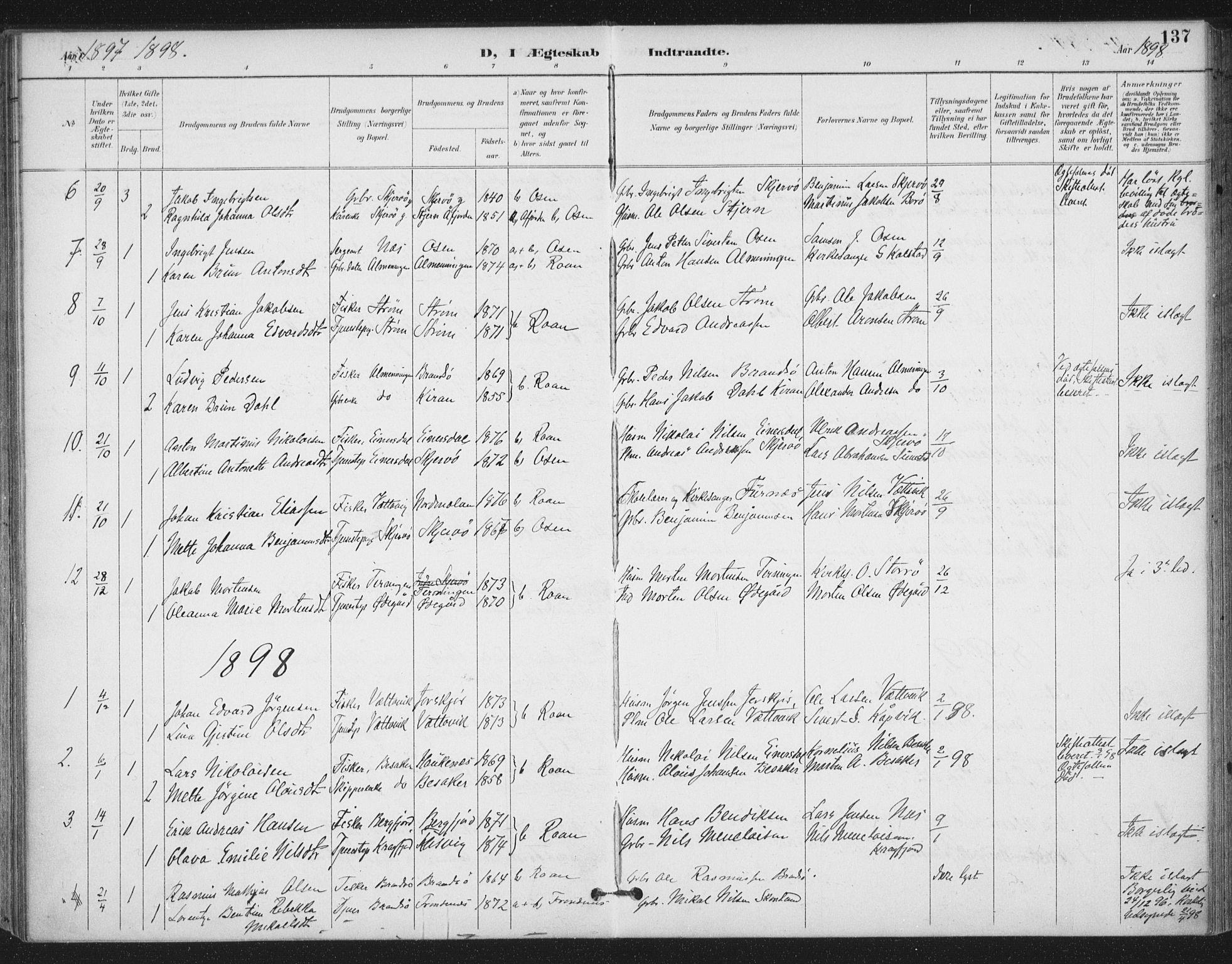 SAT, Ministerialprotokoller, klokkerbøker og fødselsregistre - Sør-Trøndelag, 657/L0708: Ministerialbok nr. 657A09, 1894-1904, s. 137