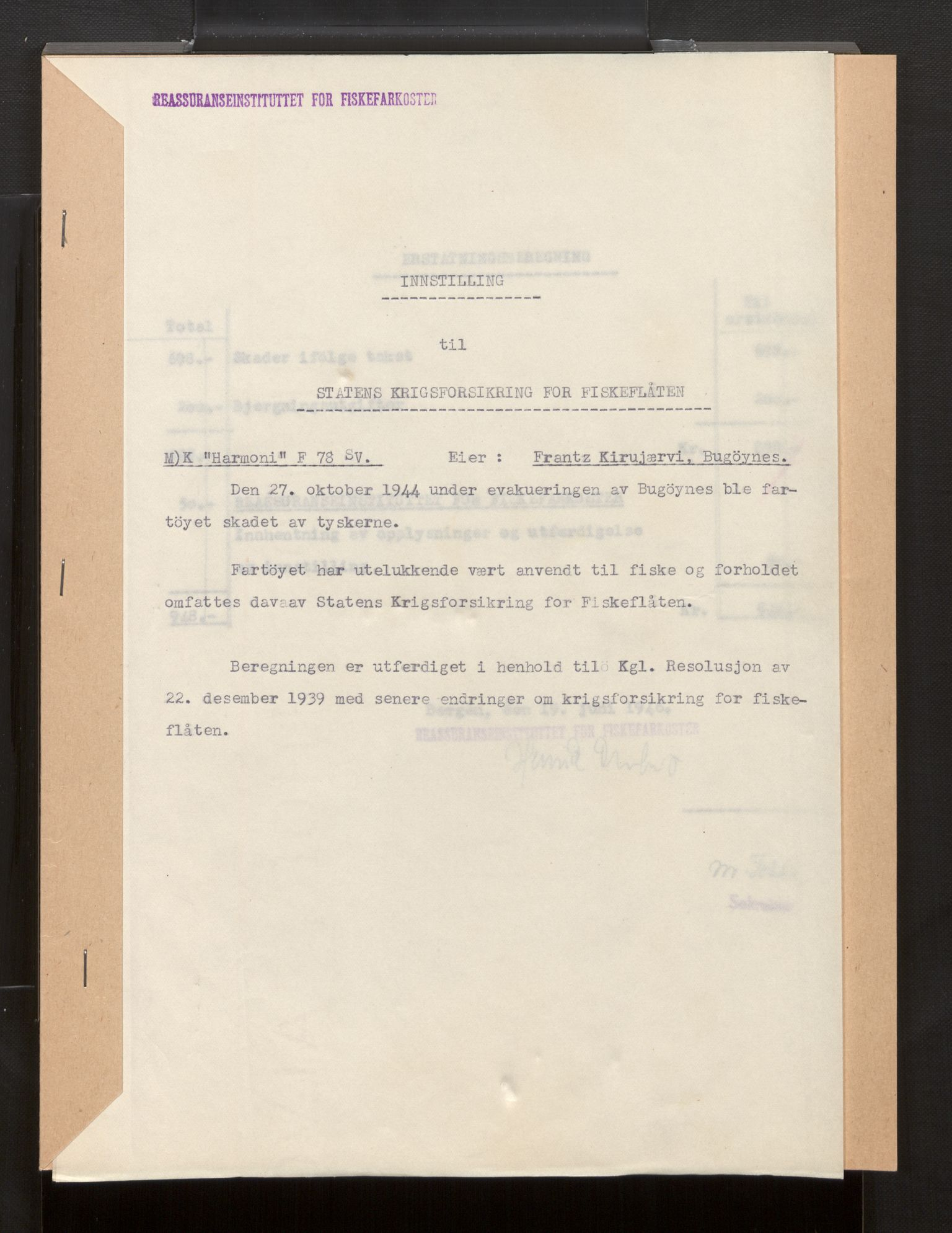 SAB, Fiskeridirektoratet - 1 Adm. ledelse - 13 Båtkontoret, La/L0042: Statens krigsforsikring for fiskeflåten, 1936-1971, s. 333