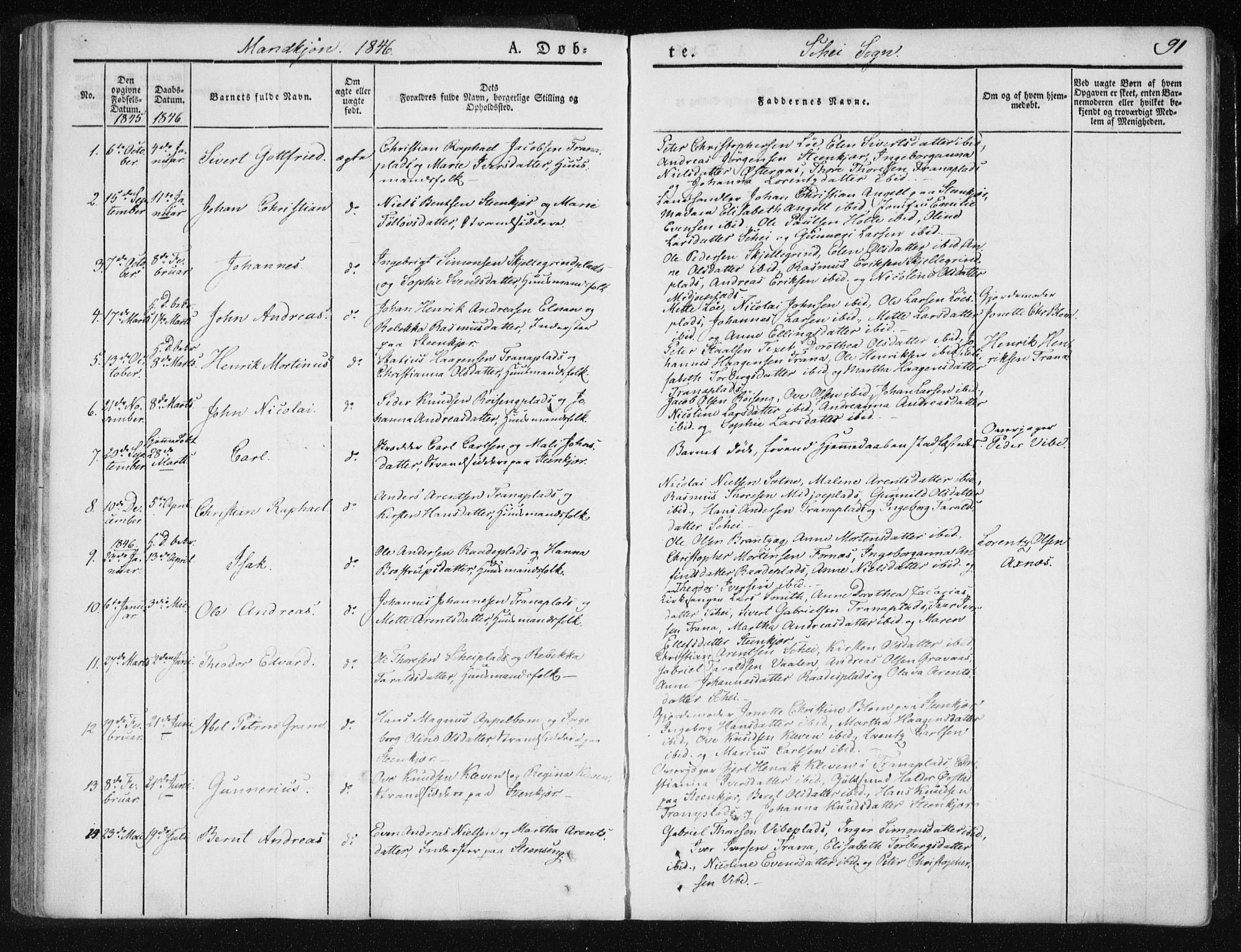 SAT, Ministerialprotokoller, klokkerbøker og fødselsregistre - Nord-Trøndelag, 735/L0339: Ministerialbok nr. 735A06 /2, 1836-1848, s. 91