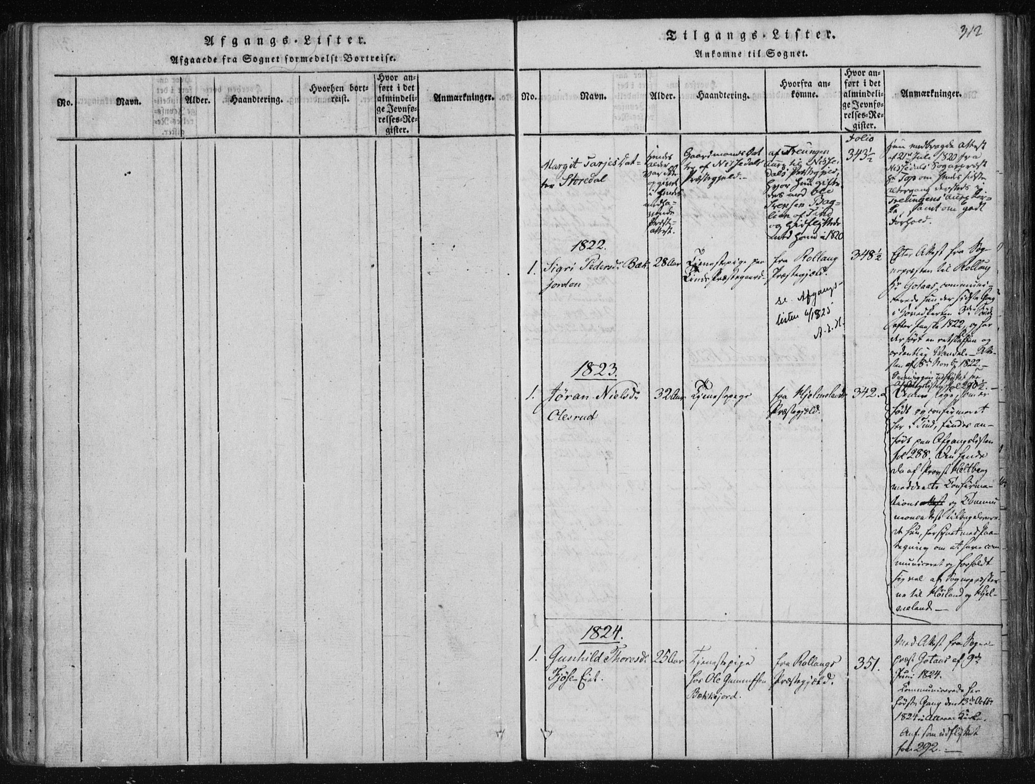 SAKO, Tinn kirkebøker, F/Fa/L0004: Ministerialbok nr. I 4, 1815-1843, s. 312