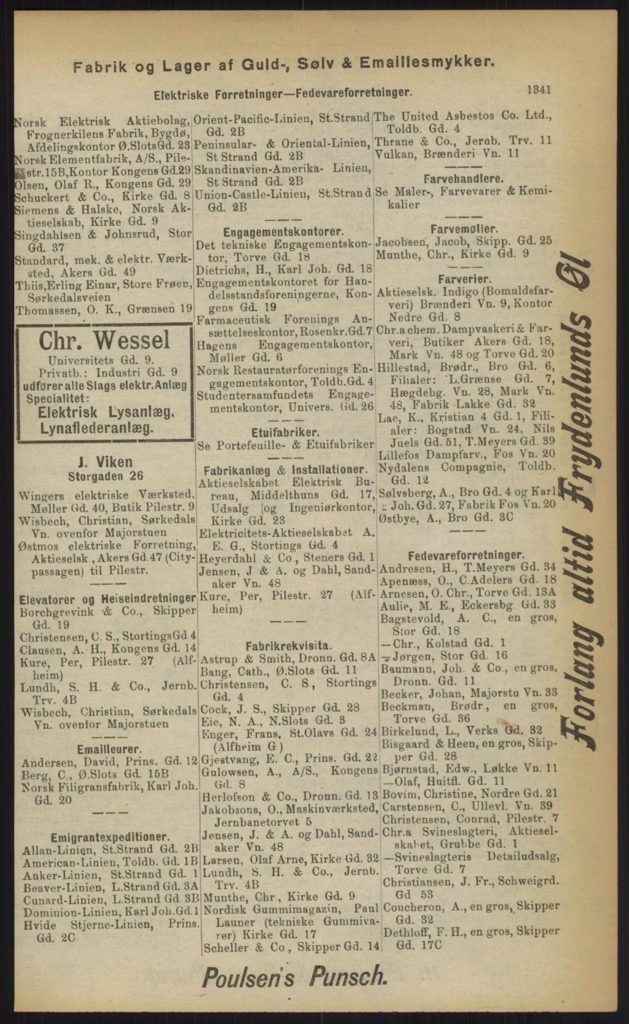RA, Kristiania adressebok (publikasjon)*, 1903, s. 1341