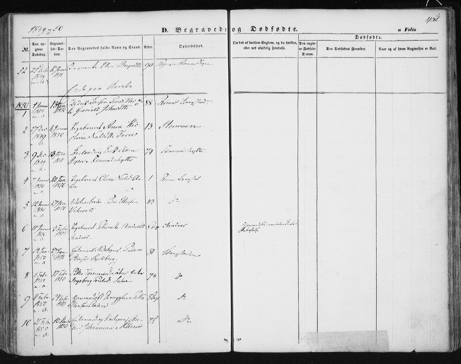 SAT, Ministerialprotokoller, klokkerbøker og fødselsregistre - Sør-Trøndelag, 681/L0931: Ministerialbok nr. 681A09, 1845-1859, s. 451