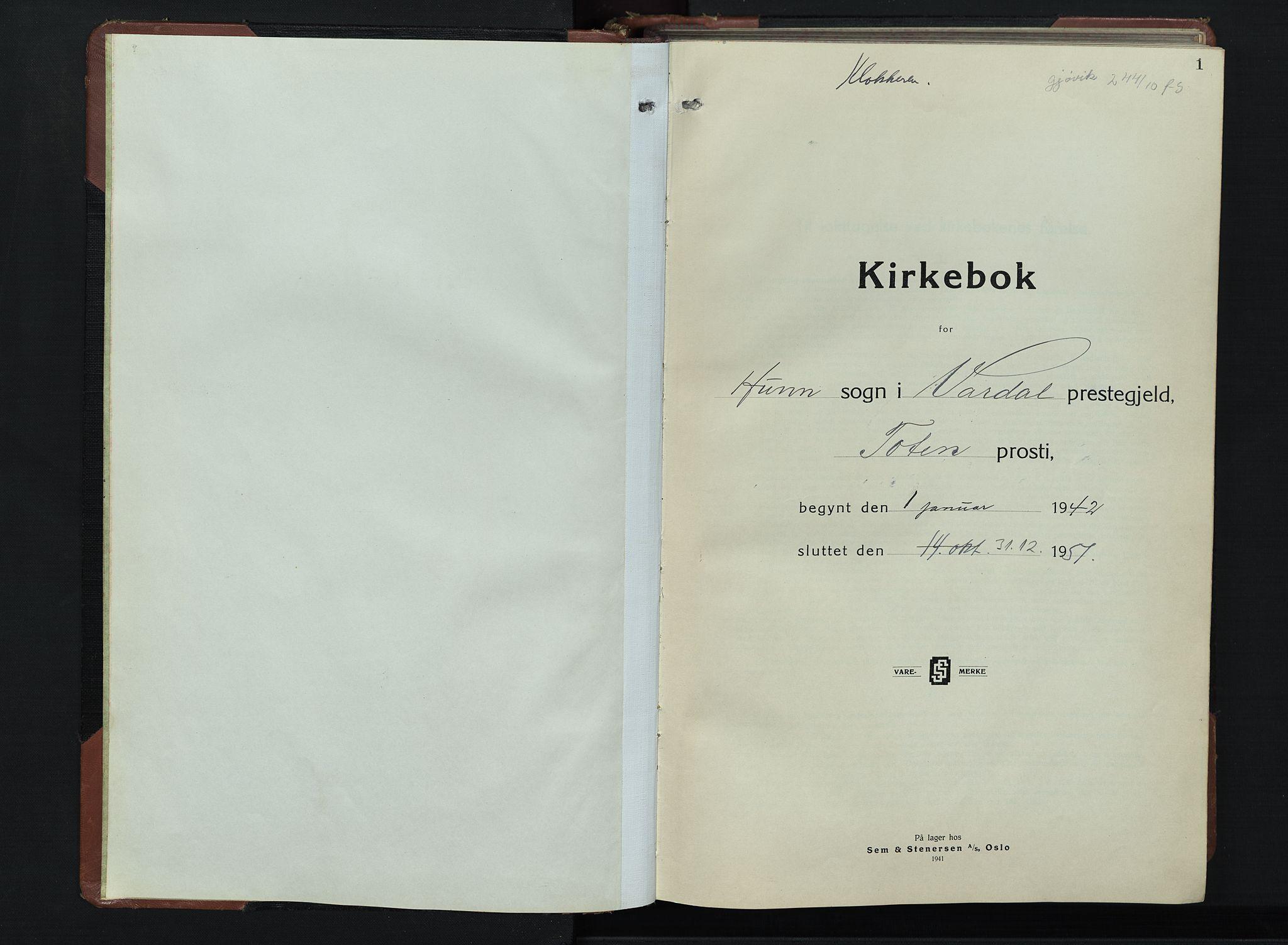 SAH, Vardal prestekontor, H/Ha/Hab/L0019: Klokkerbok nr. 19, 1941-1951, s. 1