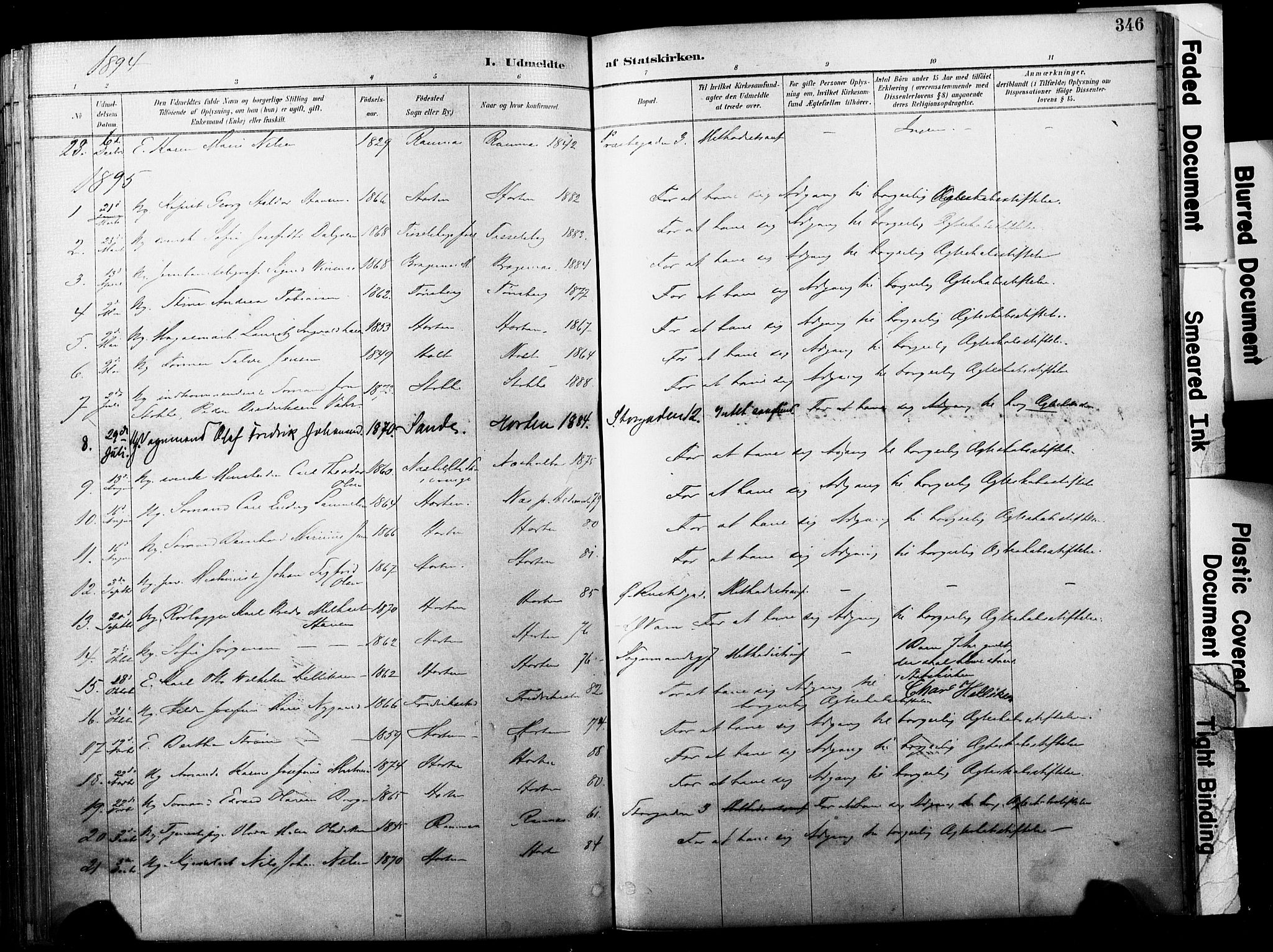 SAKO, Horten kirkebøker, F/Fa/L0004: Ministerialbok nr. 4, 1888-1895, s. 346
