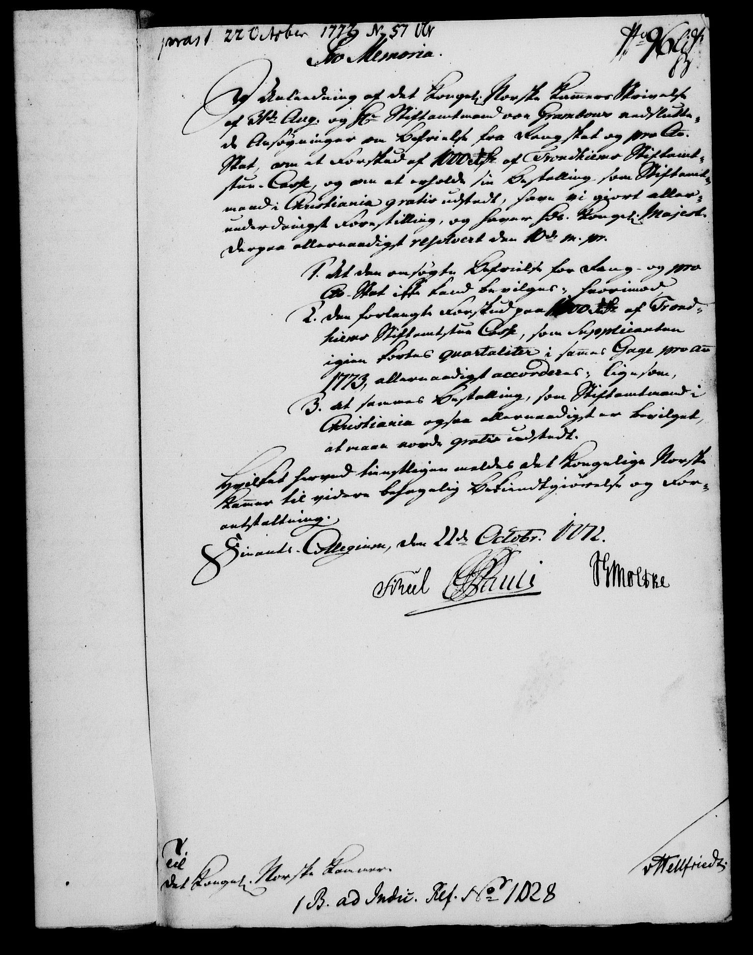 RA, Rentekammeret, Kammerkanselliet, G/Gf/Gfa/L0054: Norsk relasjons- og resolusjonsprotokoll (merket RK 52.54), 1771-1772, s. 595