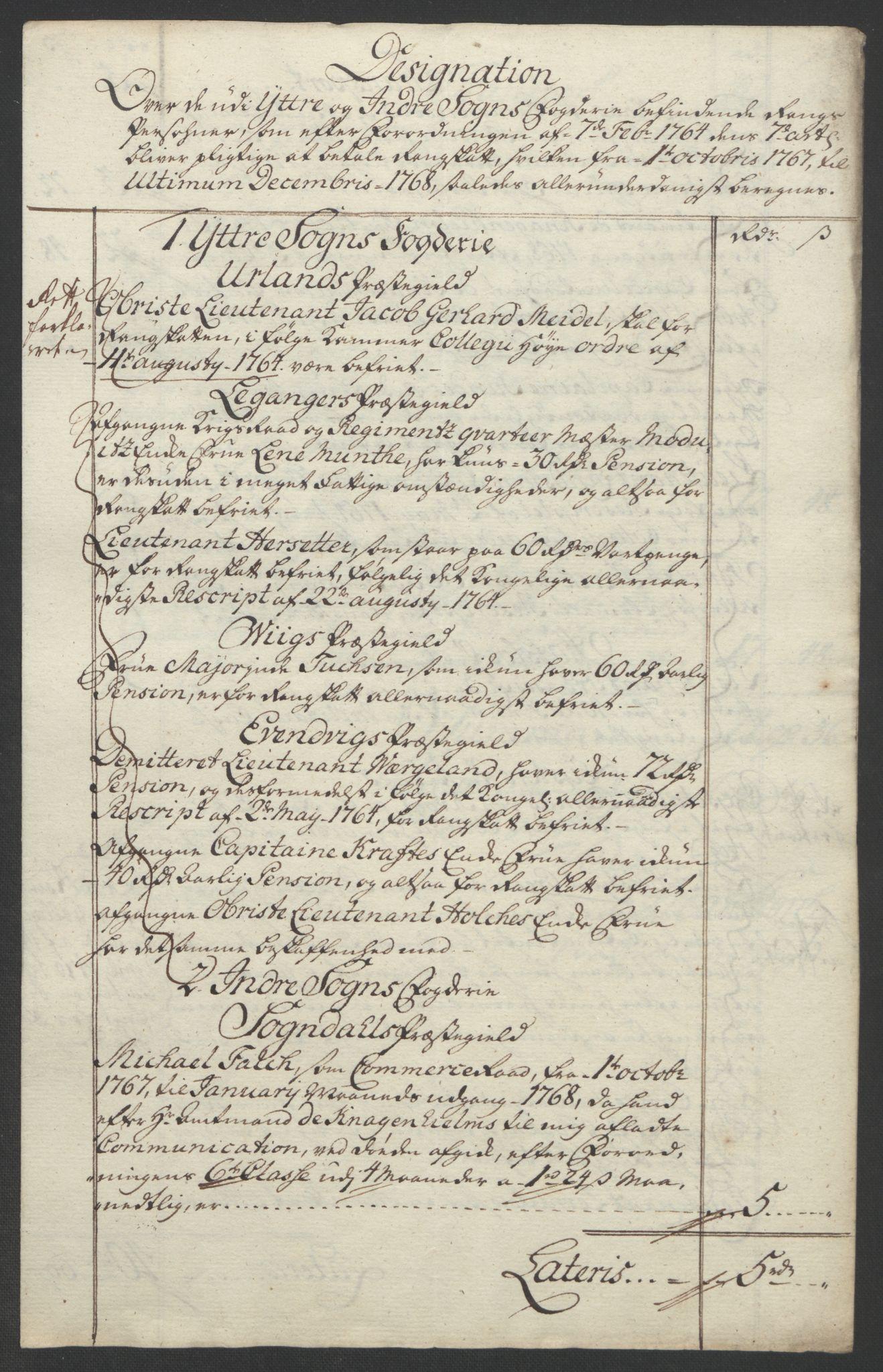 RA, Rentekammeret inntil 1814, Realistisk ordnet avdeling, Ol/L0018: [Gg 10]: Ekstraskatten, 23.09.1762. Sogn, 1762-1772, s. 181