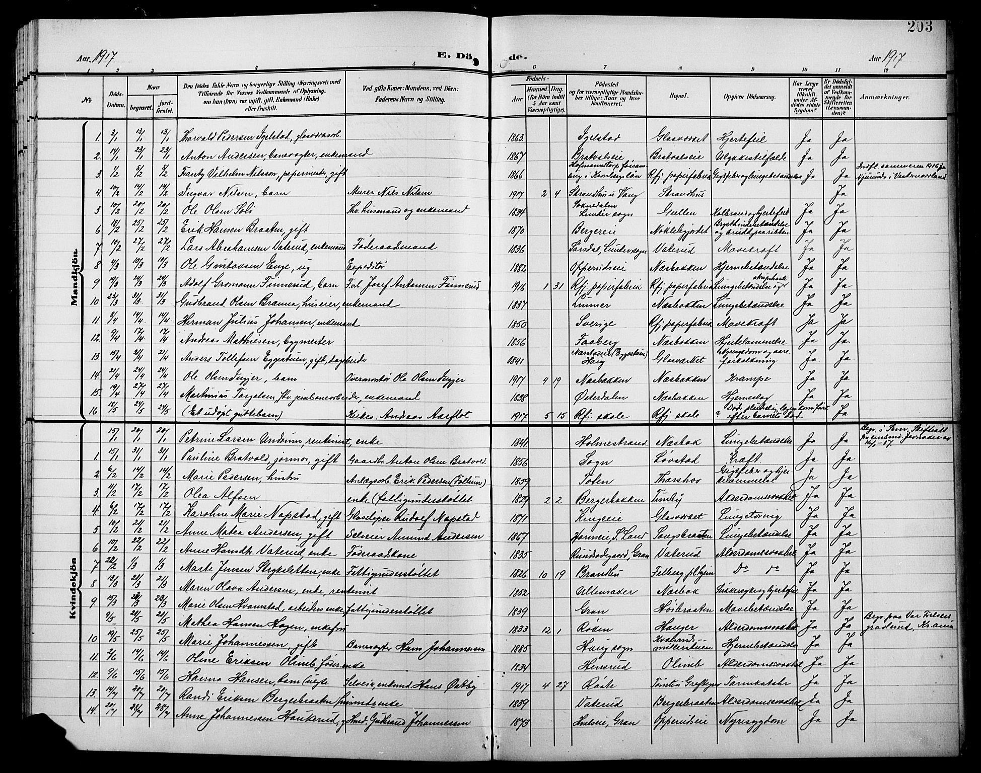 SAH, Jevnaker prestekontor, Klokkerbok nr. 4, 1907-1918, s. 203