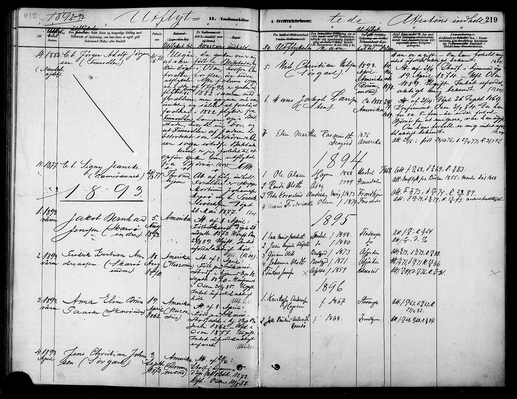 SAT, Ministerialprotokoller, klokkerbøker og fødselsregistre - Sør-Trøndelag, 658/L0722: Ministerialbok nr. 658A01, 1879-1896, s. 219