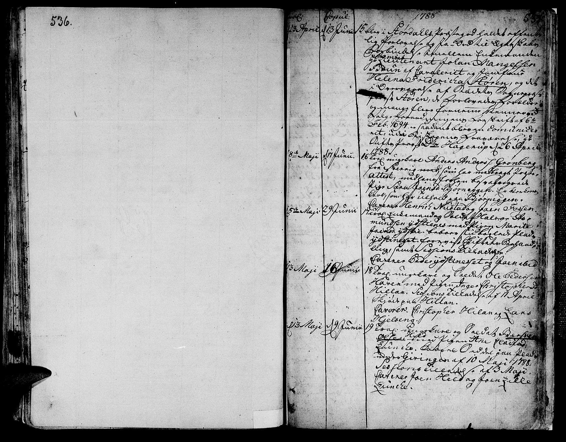 SAT, Ministerialprotokoller, klokkerbøker og fødselsregistre - Nord-Trøndelag, 709/L0059: Ministerialbok nr. 709A06, 1781-1797, s. 536-537