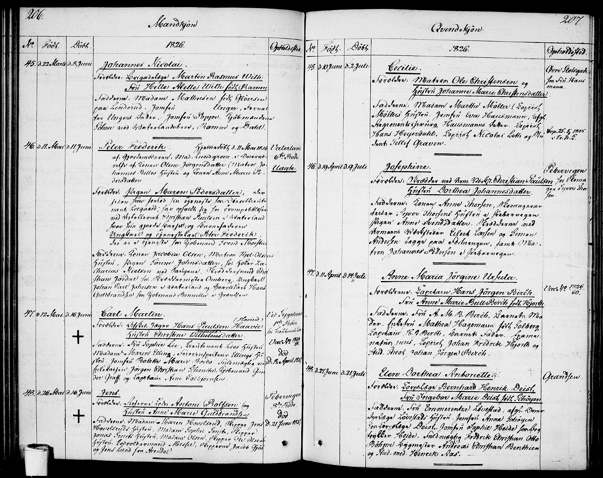SAO, Garnisonsmenigheten Kirkebøker, F/Fa/L0004: Ministerialbok nr. 4, 1820-1828, s. 206-207