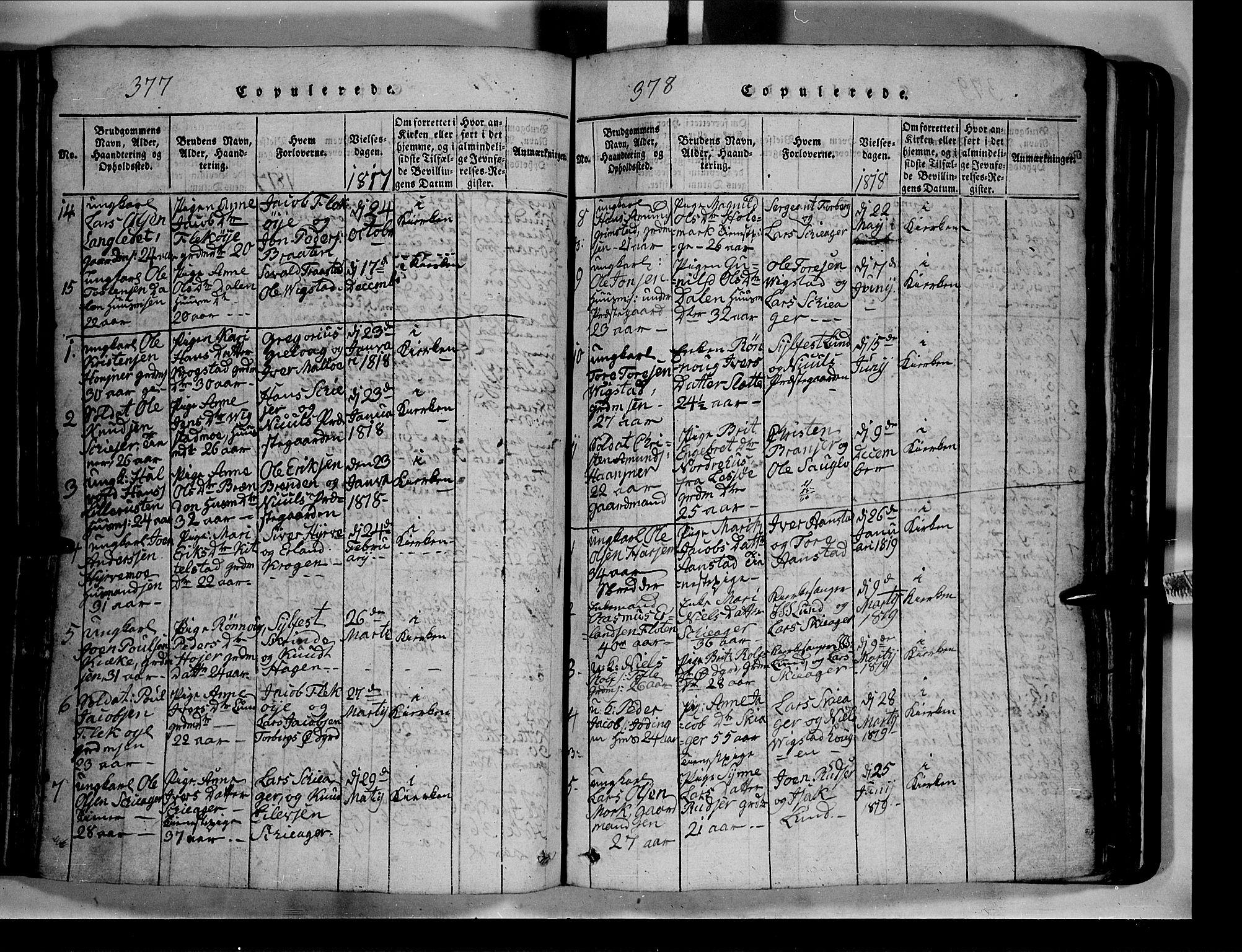 SAH, Lom prestekontor, L/L0003: Klokkerbok nr. 3, 1815-1844, s. 377-378