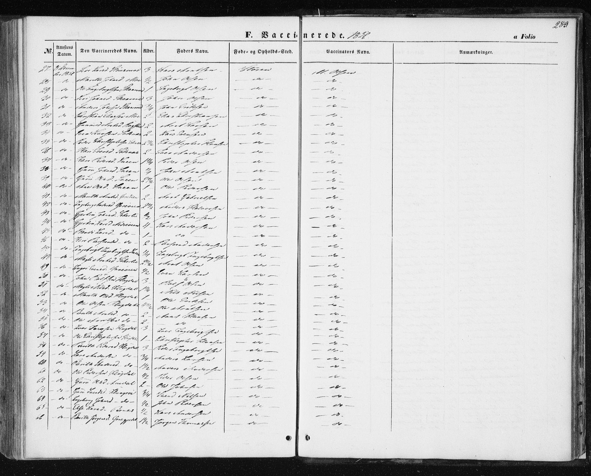 SAT, Ministerialprotokoller, klokkerbøker og fødselsregistre - Sør-Trøndelag, 687/L1000: Ministerialbok nr. 687A06, 1848-1869, s. 283