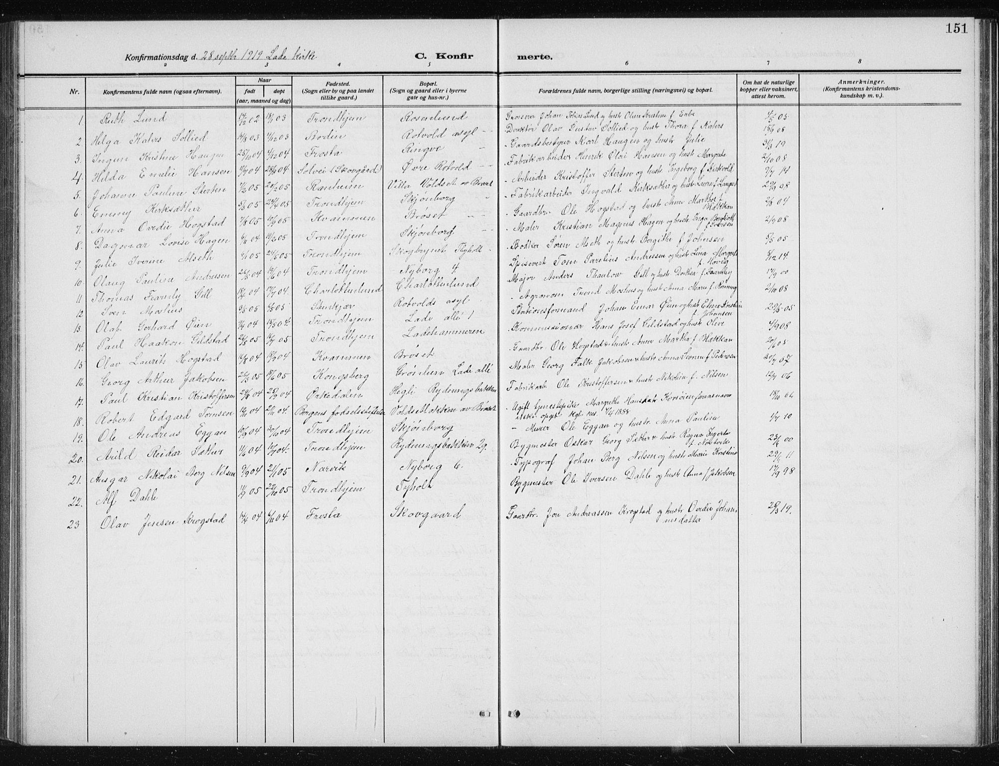 SAT, Ministerialprotokoller, klokkerbøker og fødselsregistre - Sør-Trøndelag, 606/L0314: Klokkerbok nr. 606C10, 1911-1937, s. 151