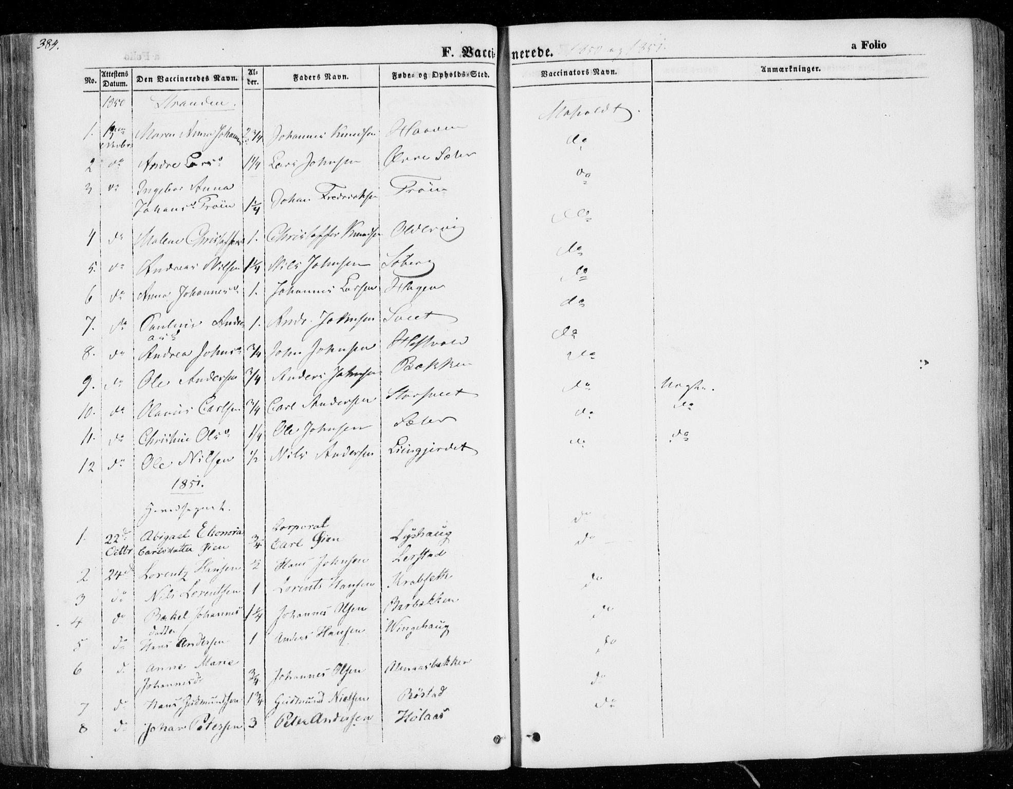 SAT, Ministerialprotokoller, klokkerbøker og fødselsregistre - Nord-Trøndelag, 701/L0007: Ministerialbok nr. 701A07 /1, 1842-1854, s. 384