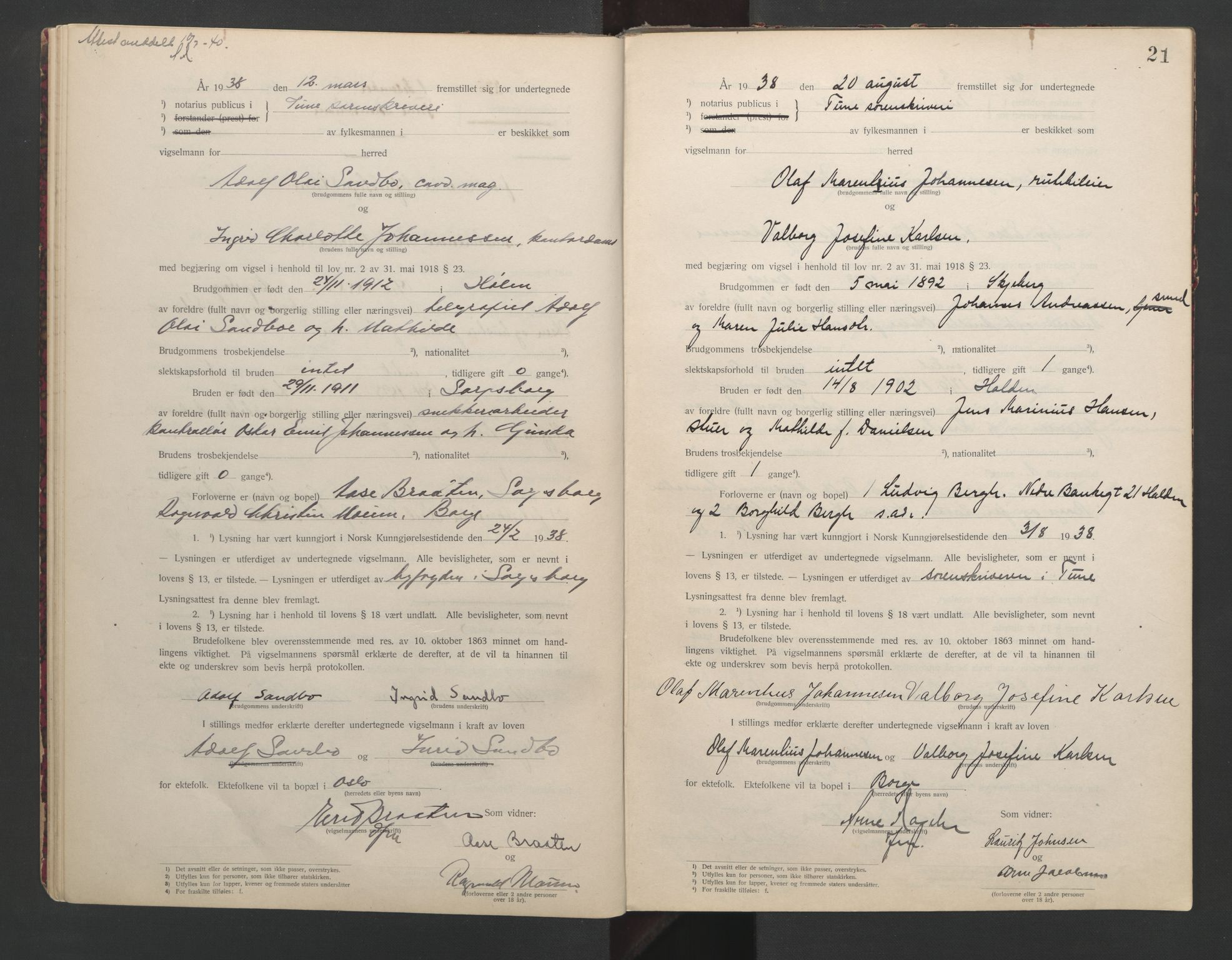 SAO, Tune sorenskriveri, L/Lb/L0001: Vigselprotokoll, 1923-1943, s. 21