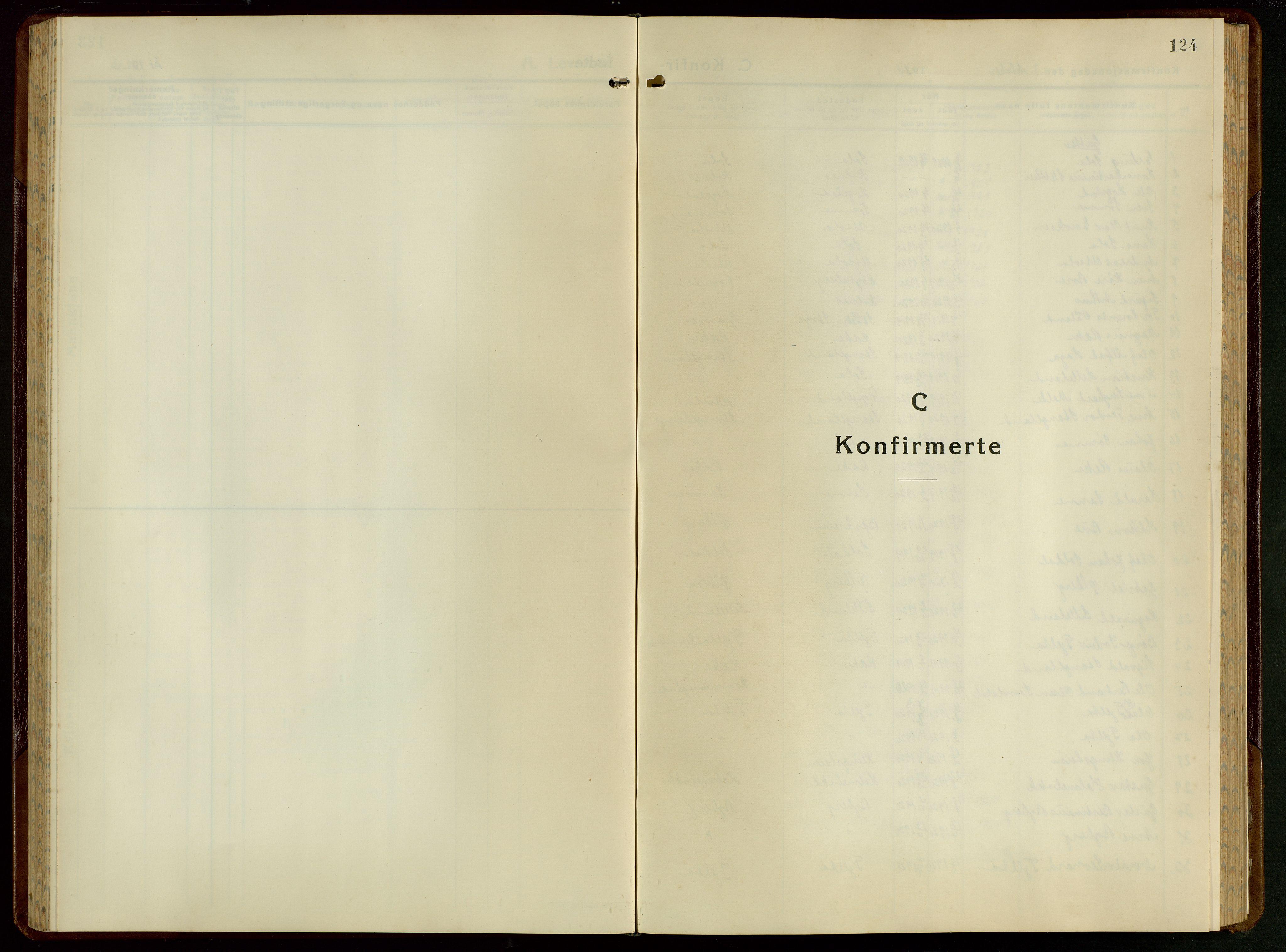 SAST, Håland sokneprestkontor, 30BB/L0005: Klokkerbok nr. B 5, 1934-1955, s. 124