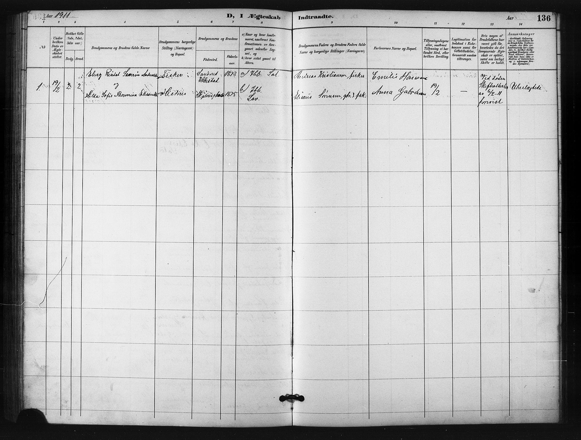 SATØ, Salangen sokneprestembete, H/Ha/L0001klokker: Klokkerbok nr. 1, 1893-1910, s. 136