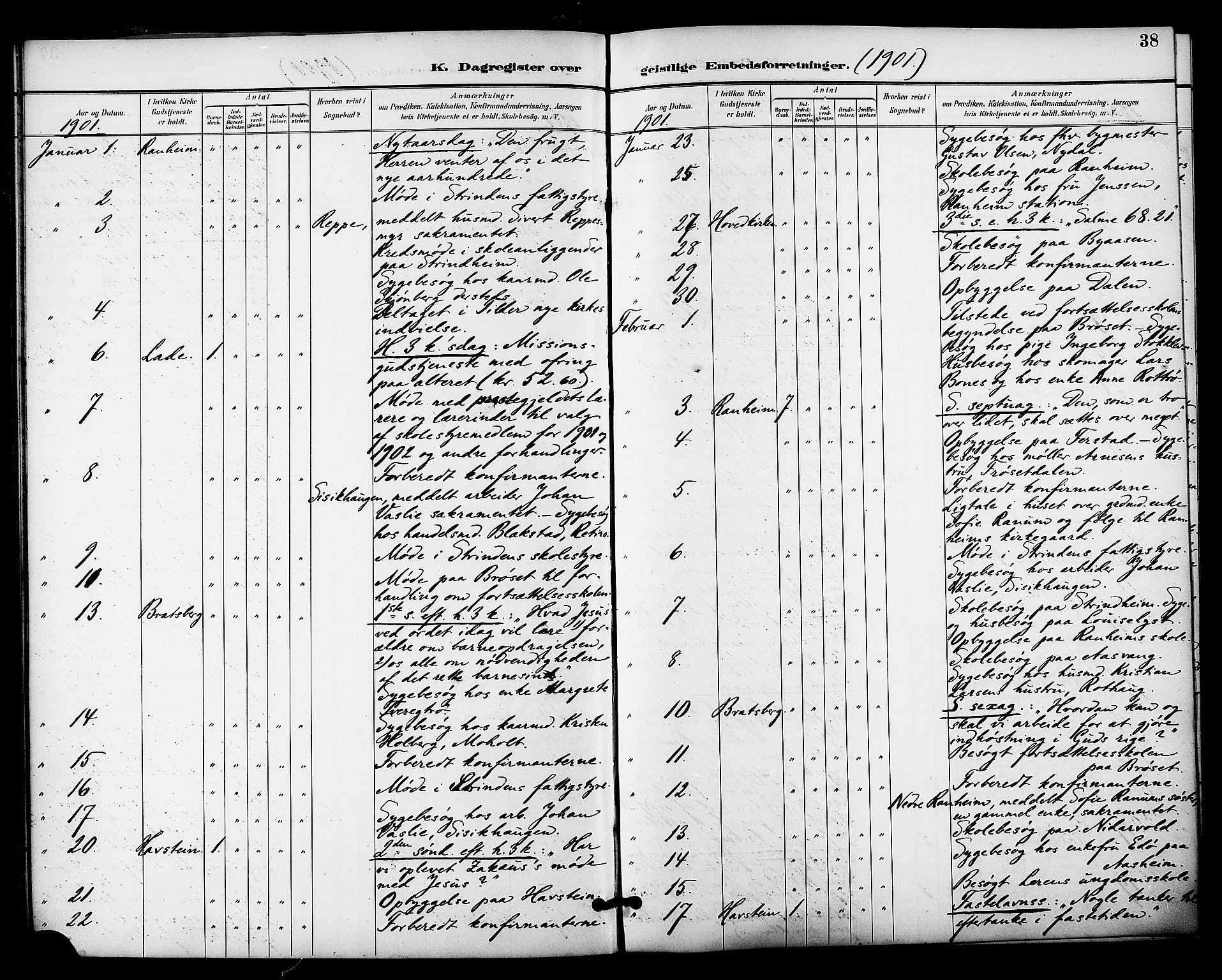 SAT, Ministerialprotokoller, klokkerbøker og fødselsregistre - Sør-Trøndelag, 606/L0304: Residerende kapellans bok nr. 606B03, 1895-1917, s. 38